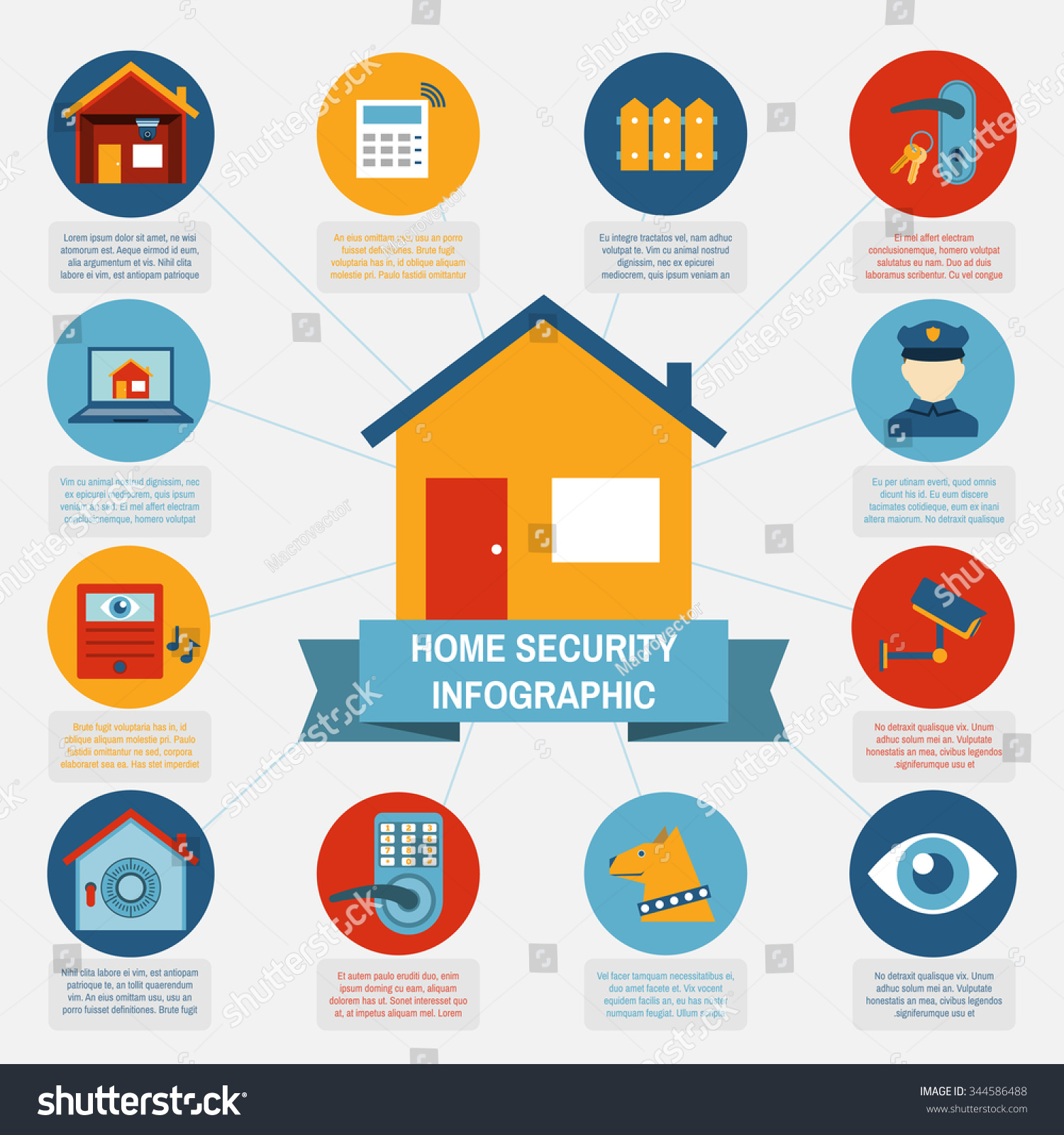 Modern Computer Controlled Home Security Systems Infographic Banner With  Information And Pictograms Blocks Abstract Isolated Vector