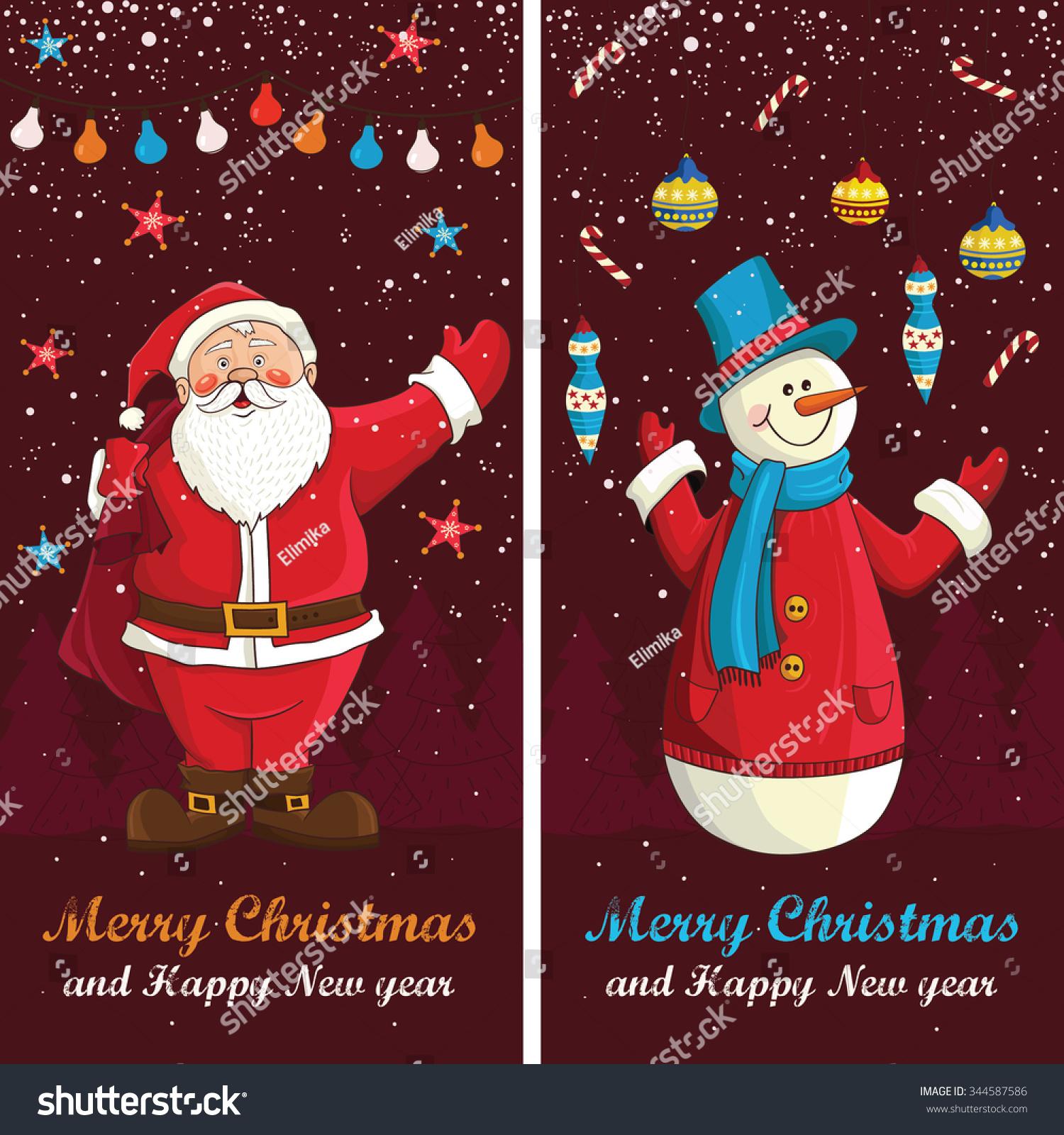Merry Christmas Card Vector Cute Funny Santa Stock Vector Royalty