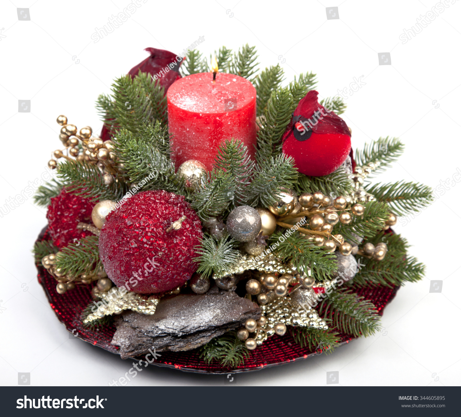 Christmas Decoration Over Wooden Background Decorations Stock Photo