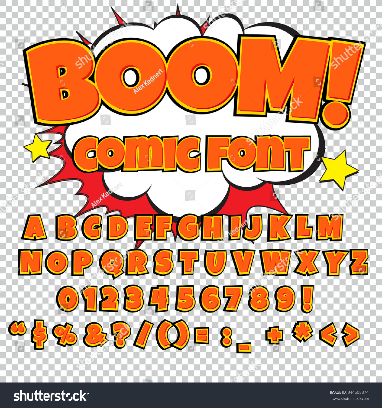 Creative high detail comic font. Alphabet in the style of comics ...
