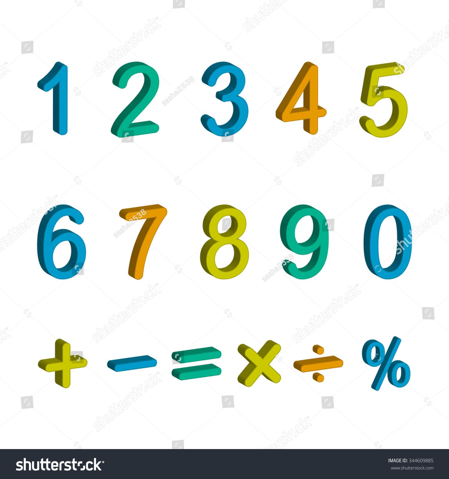 Illustration Numbers Zero Nine Math Symbols Stock Vector Royalty
