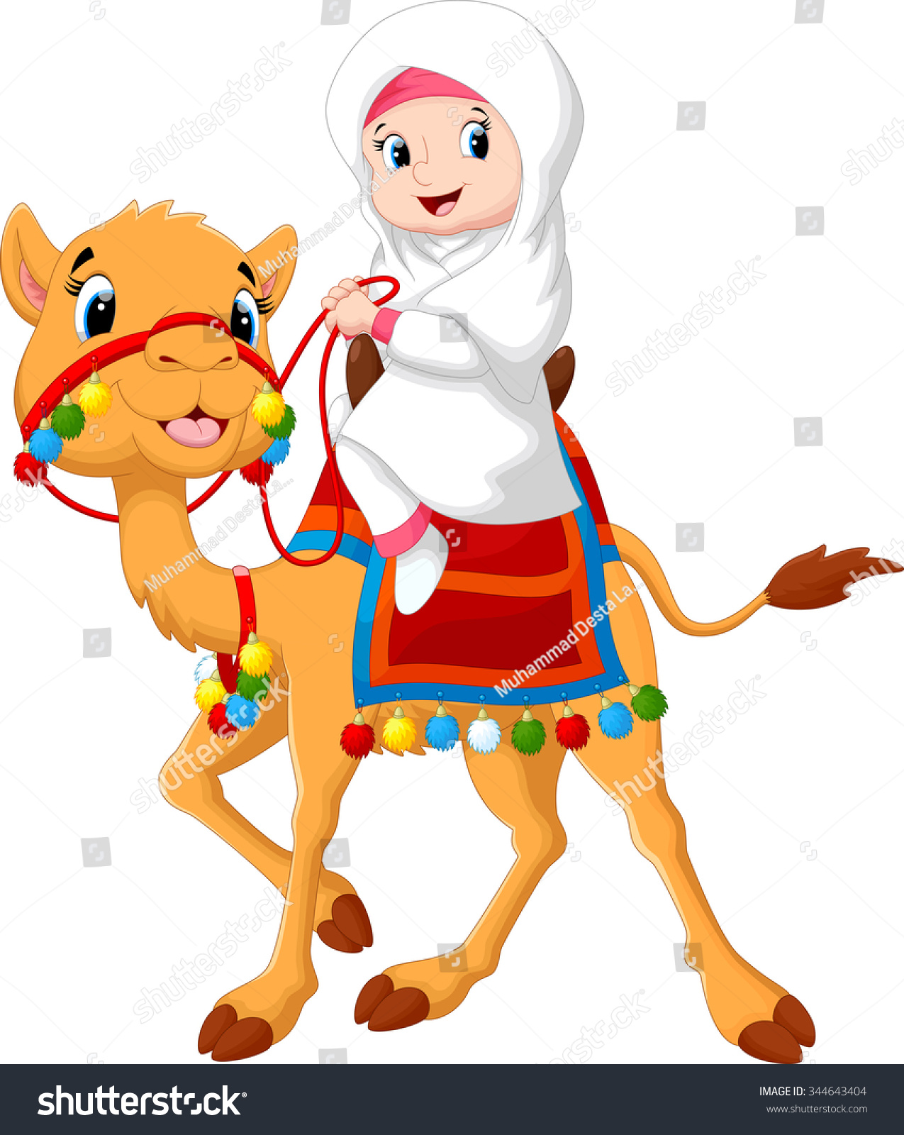 illustration arab riding camel stock vector 344643404