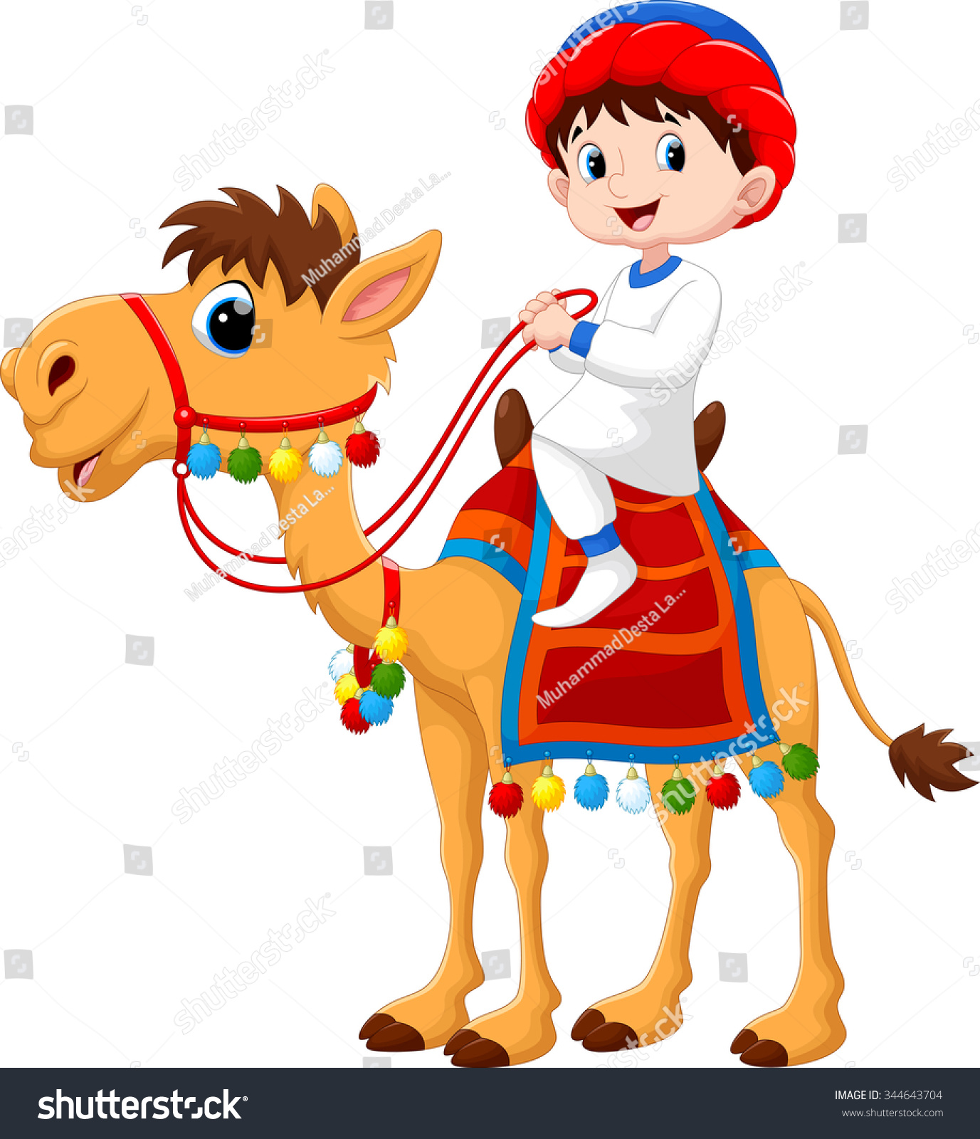 illustration arab boy riding camel stock vector 344643704