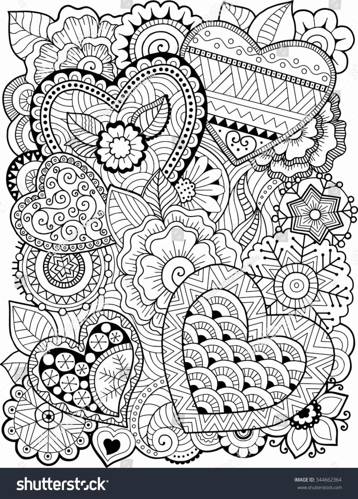 Vector Coloring Book Adult Hearts