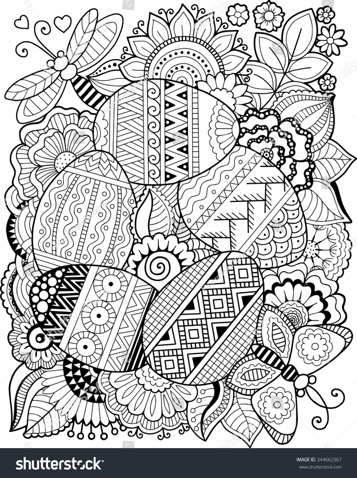 Vector Coloring Book Adult Easter Egg Stock