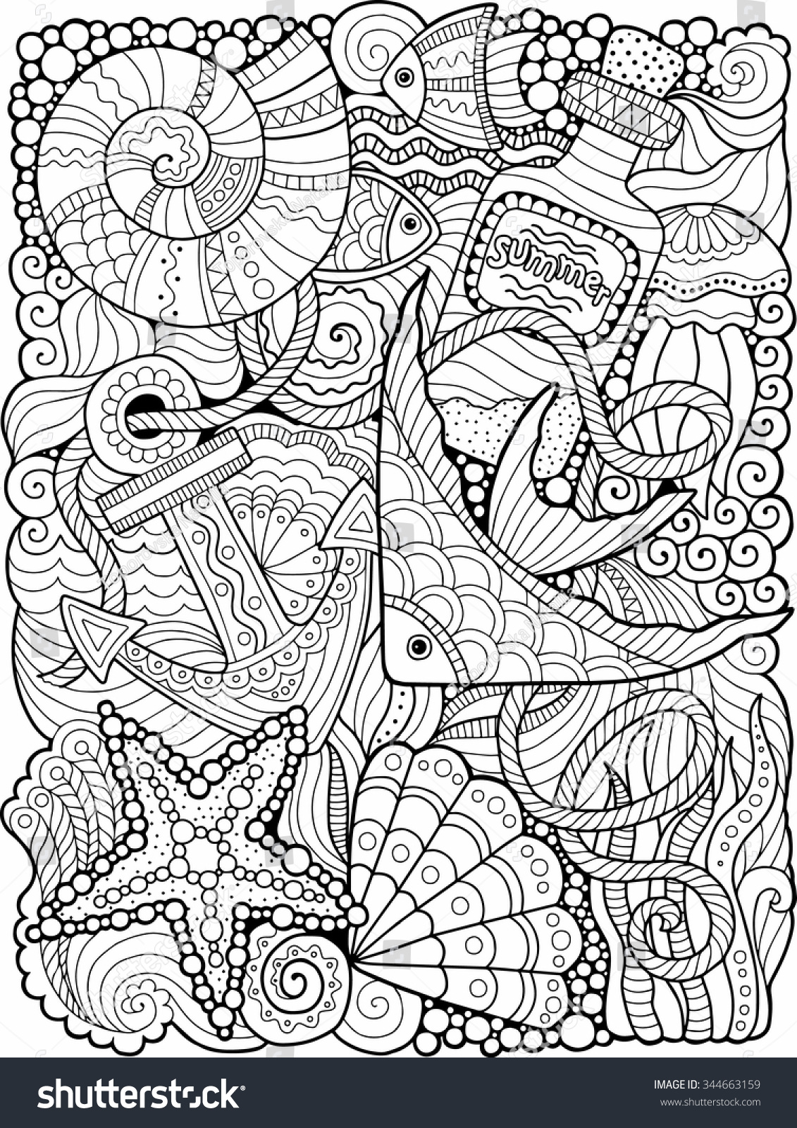 Vector Coloring Book Adult Summers