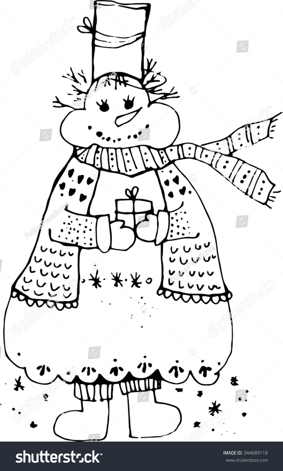 New Year S Line Art : New year snowman line art stock vector