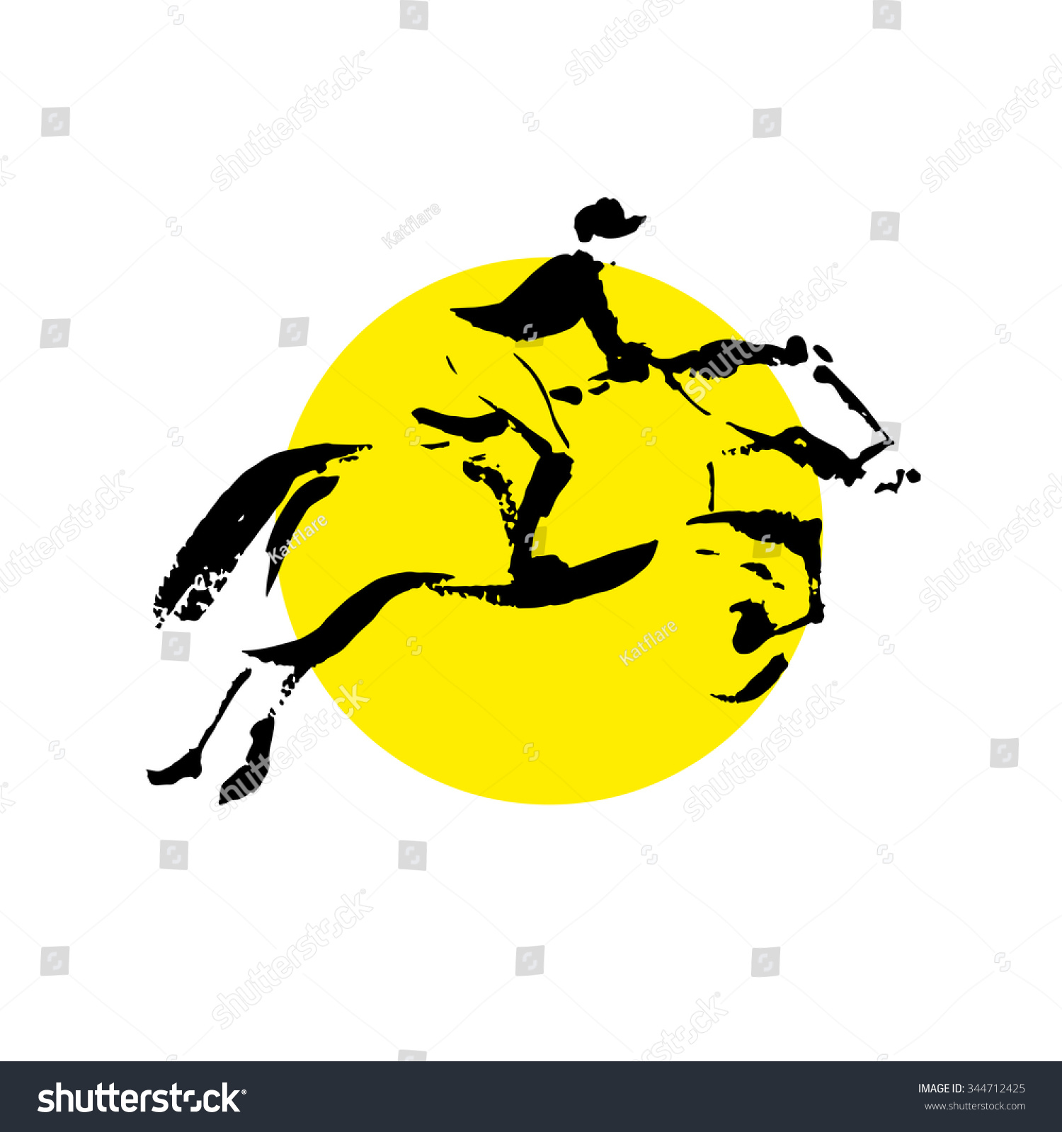 Running Horses Silhouette Wall Border Stock Vector Vector Hand Drawn Horse Riding Sketch