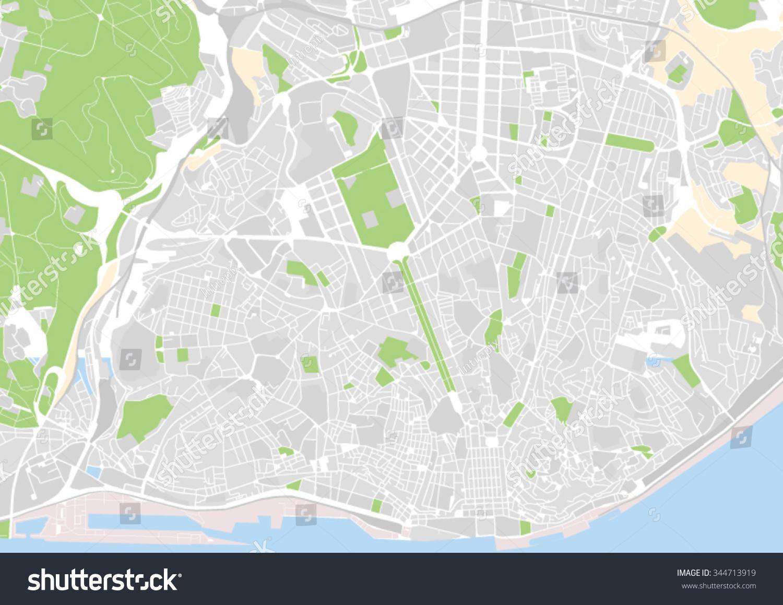 Vector City Map Lisbon Portugal Stock Vector Shutterstock - Lisbon portugal map