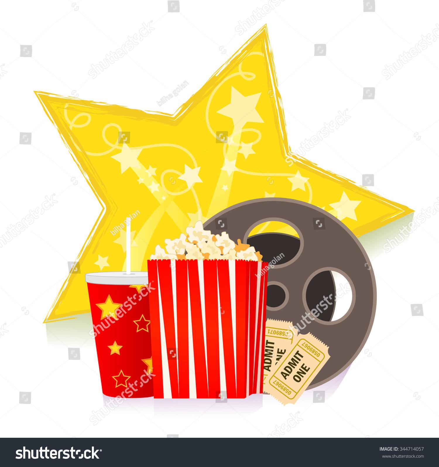 Movie Clipart Cartoon Popcorn Soda Reel Stock Vector 344714057 ...