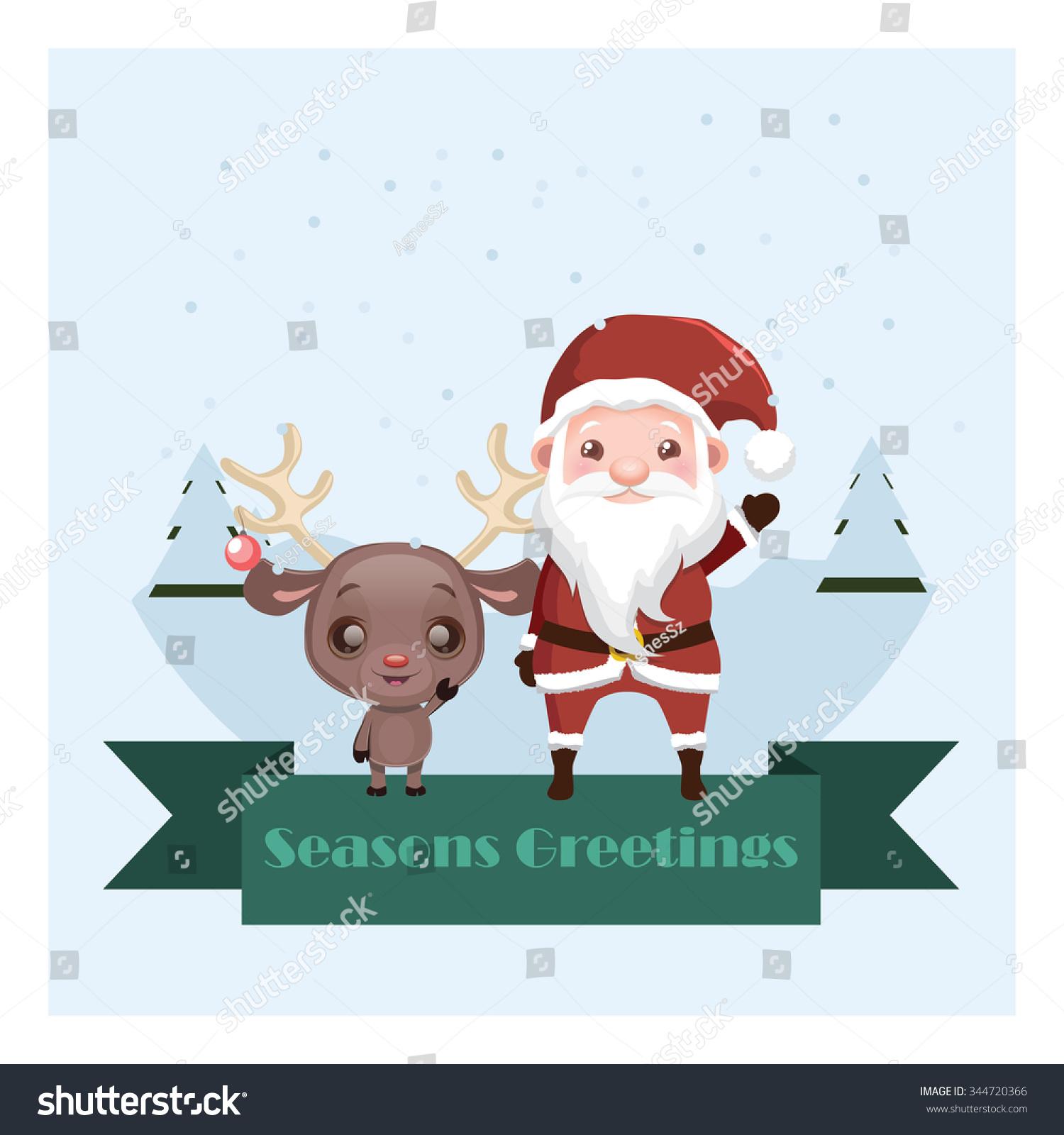 Reindeer santa seasons greetings banner stock vector 344720366 reindeer and santa seasons greetings banner kristyandbryce Choice Image