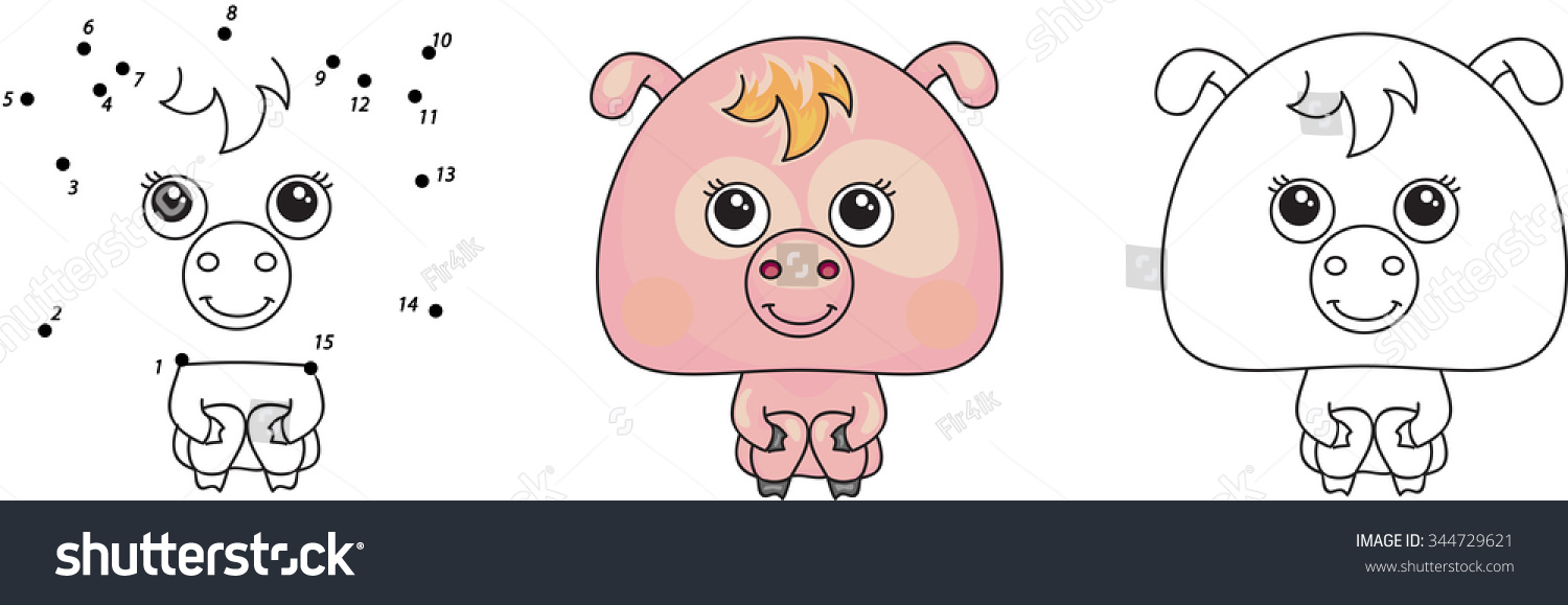 funny pink pig vector illustration kids stock vector 344729621