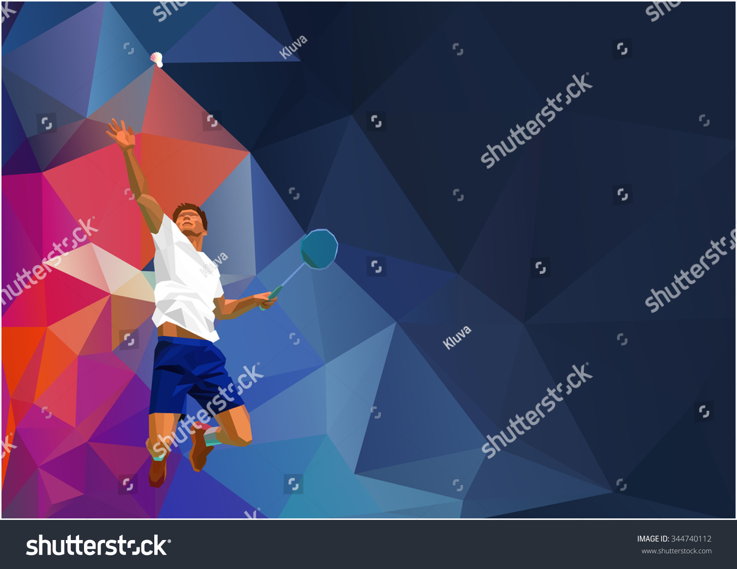 Polygonal geometric professional badminton player on colorful low poly background doing smash shot with space for flyer poster web leaflet magazine Vector illustration
