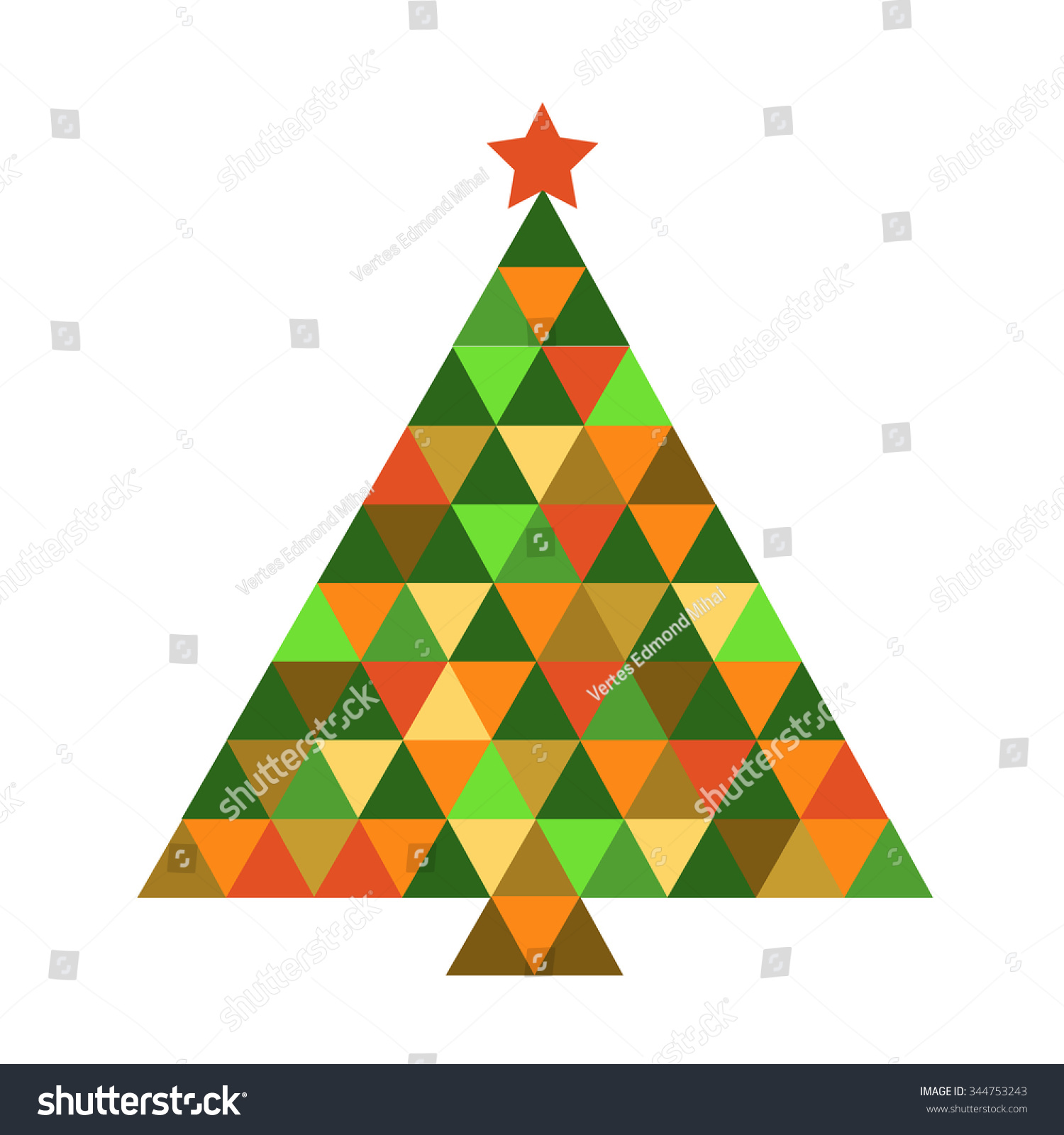 Christmas Tree Rainbow Colors Vector Illustration Stock Vector ...
