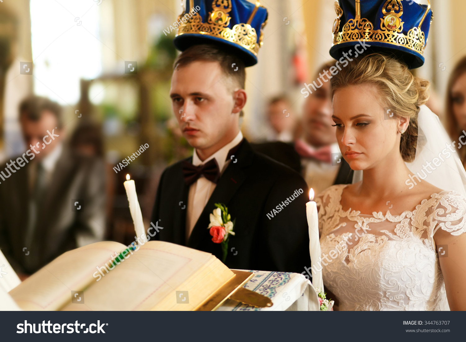 Wedding Church Bride Groom Greek Catholic Stock Photo