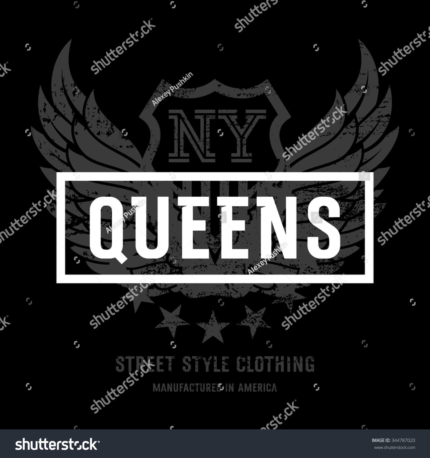 T shirt design queens ny - Lettering Queens Ny And American Eagle Wings This Illustration Can Be Used As