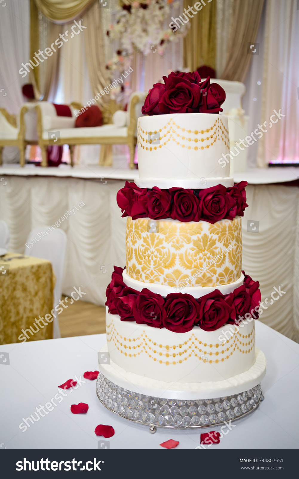 Red Gold Wedding Cake Stock Photo Edit Now 344807651 Shutterstock