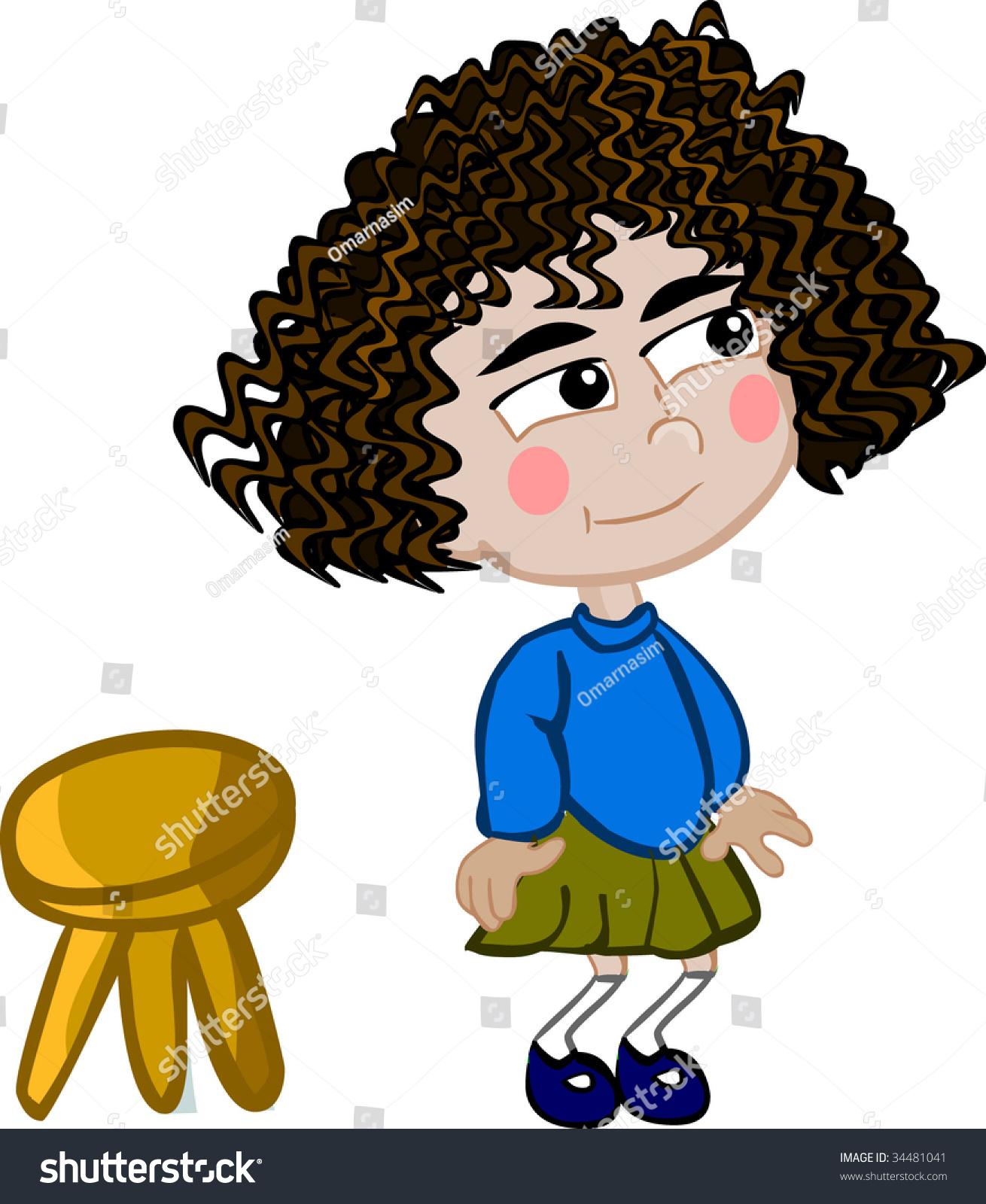 Cartoon Girl And A Stool Stock Vector Illustration