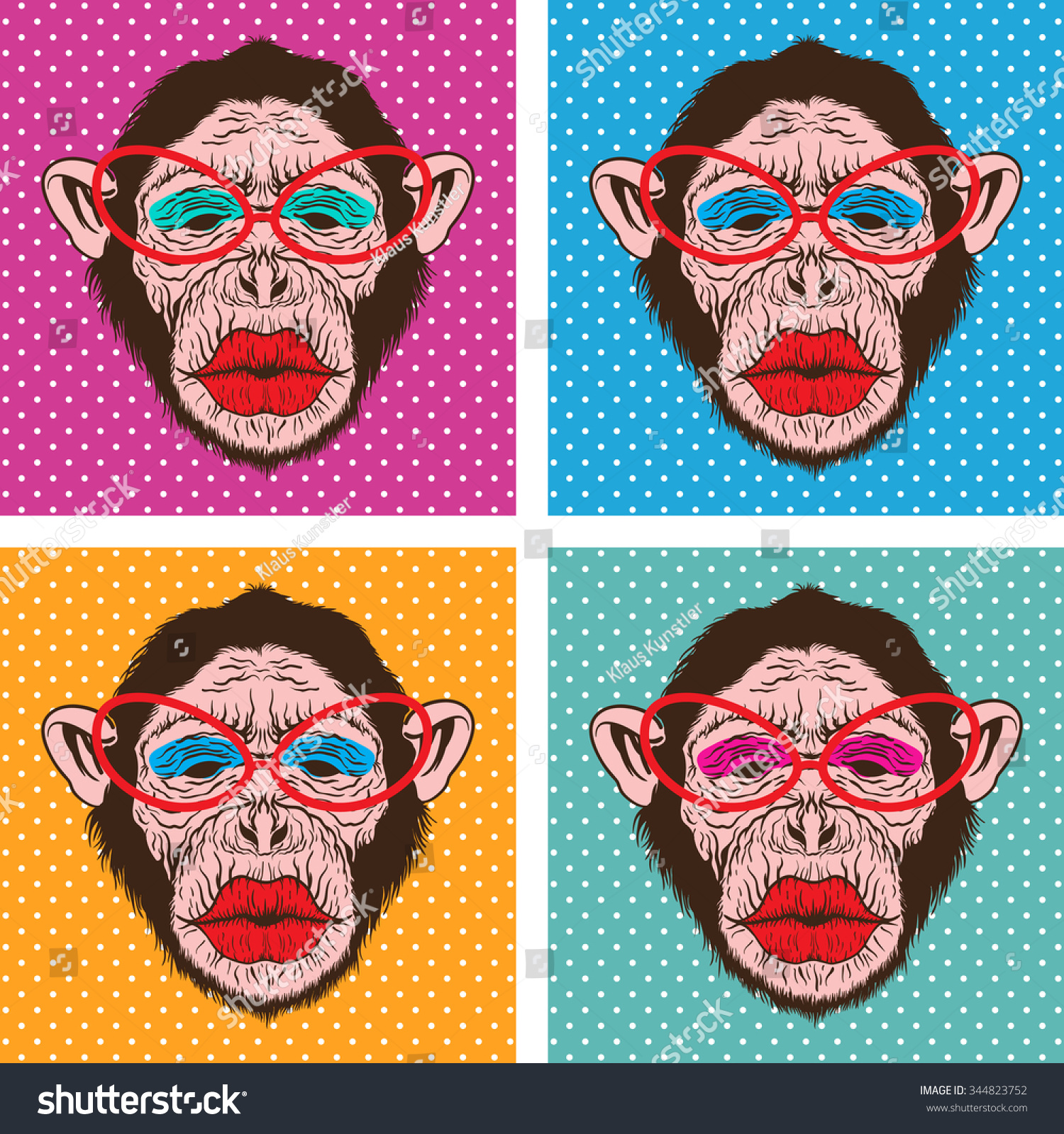popart style illustration on hipster chimpanzee stock vector