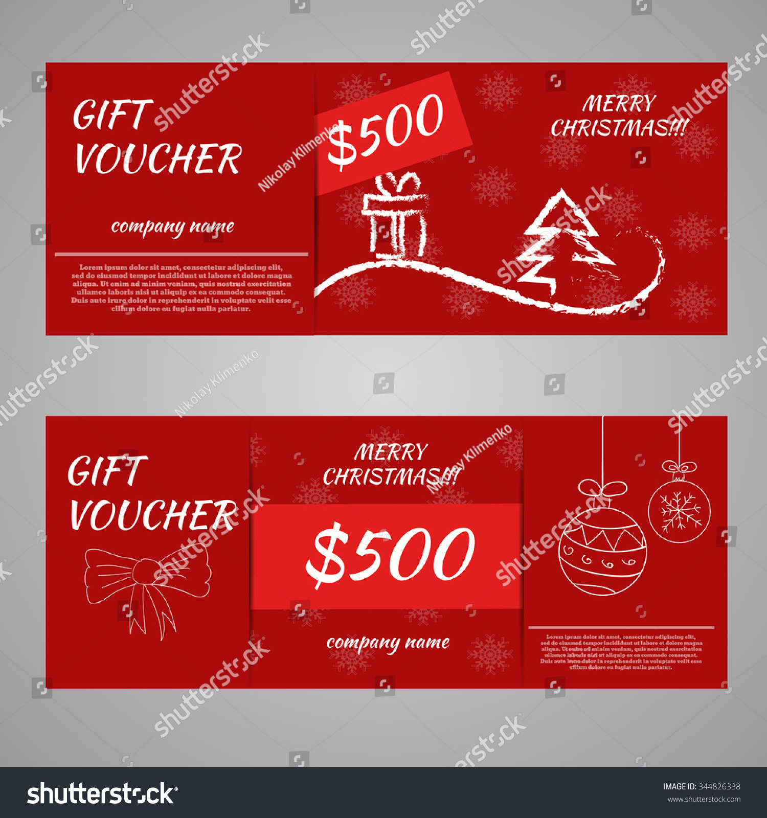 red christmas new year gift voucher stock vector 344826338 red christmas and new year gift voucher certificate coupon template can be use for business