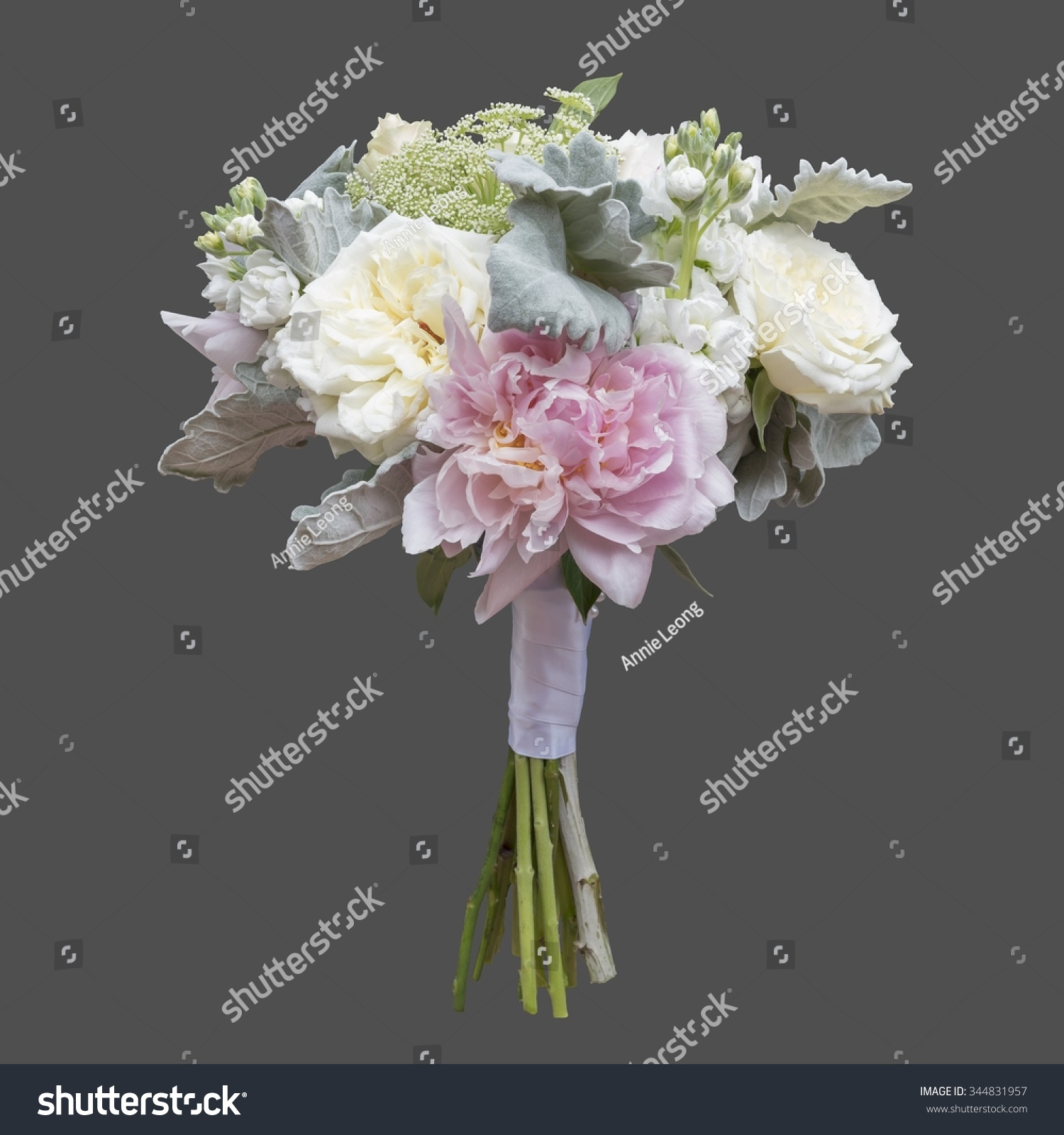 White Pink Peony And Garden Rose Bridal Bouquet Isolated On Grey Background