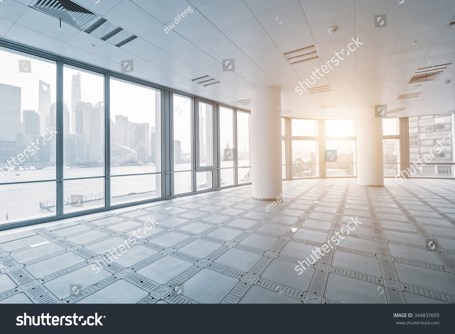 Empty Office Room Modern Office Buildings Stock Photo
