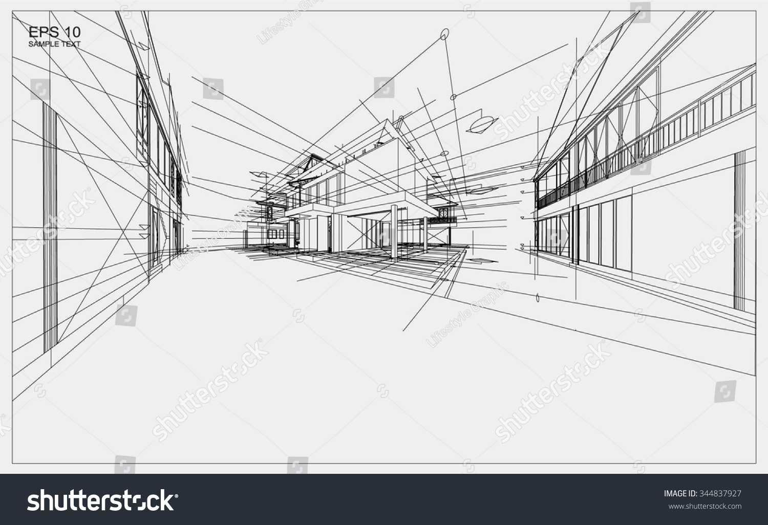 abstract 3d render building wireframe structure stock vector 344837927 shutterstock. Black Bedroom Furniture Sets. Home Design Ideas
