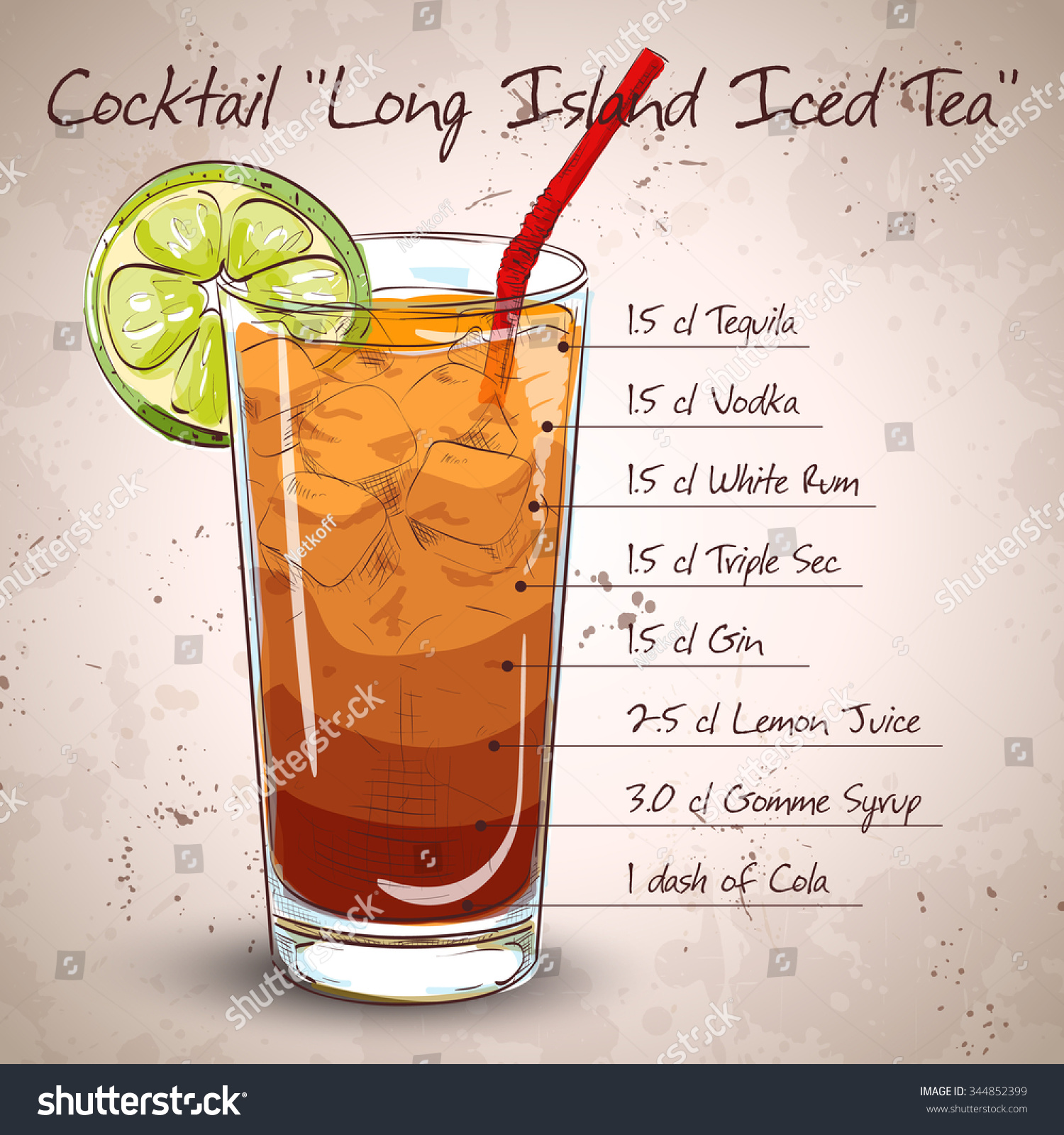 Cocktail long island iced tea vodka stock vector 344852399 for Tea with vodka recipe