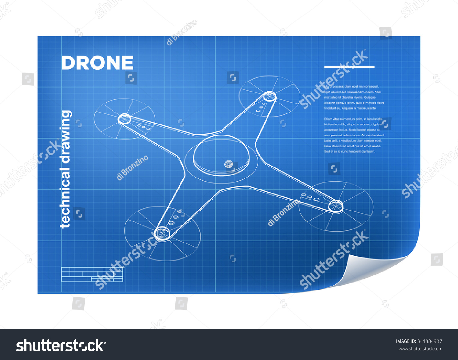 Technical Illustration With Isometric Line Quadcopter Drone Drawing On The Blueprint