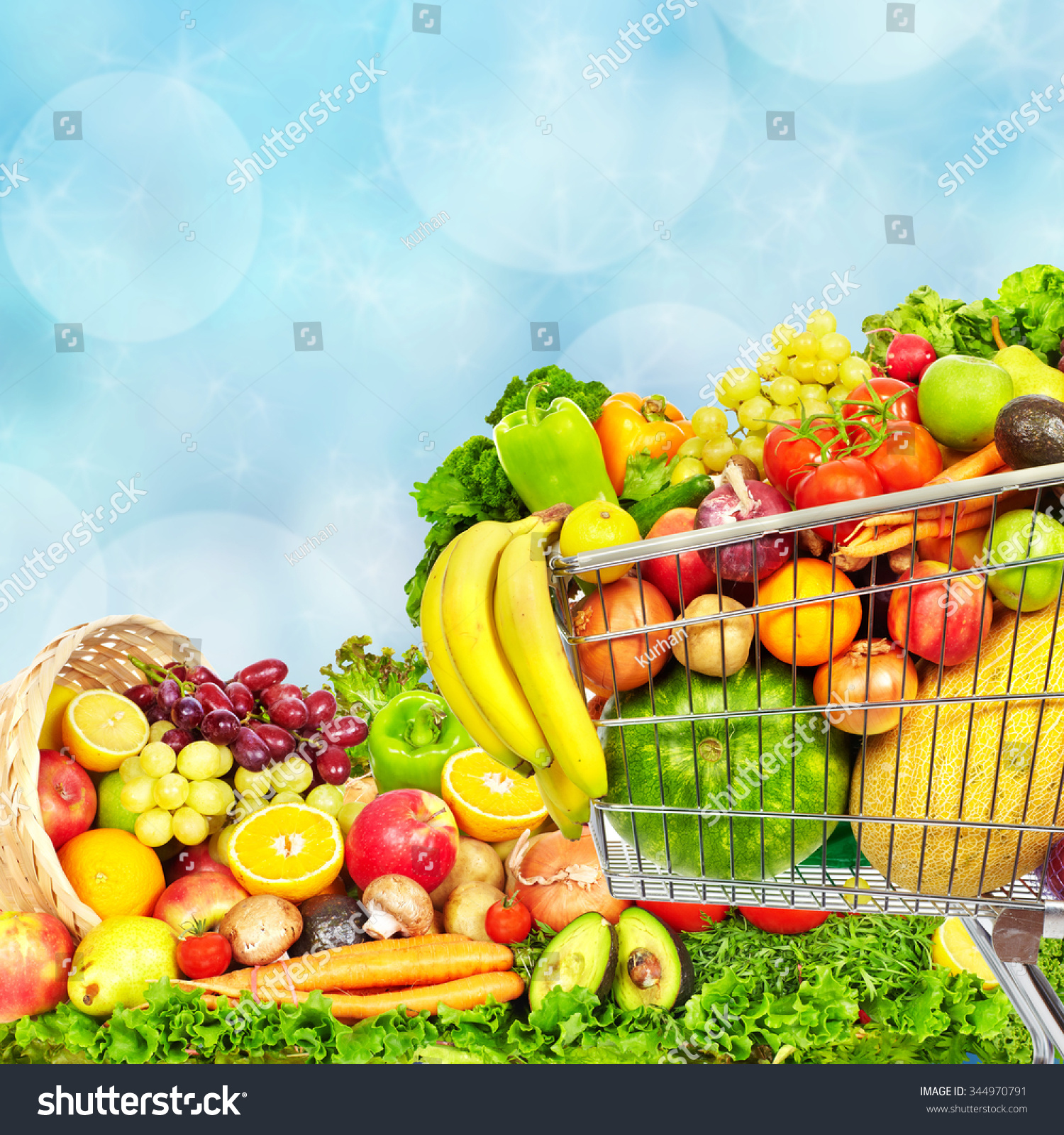 Fresh Vegetables And Fruits Over Blue Background. Healthy ...