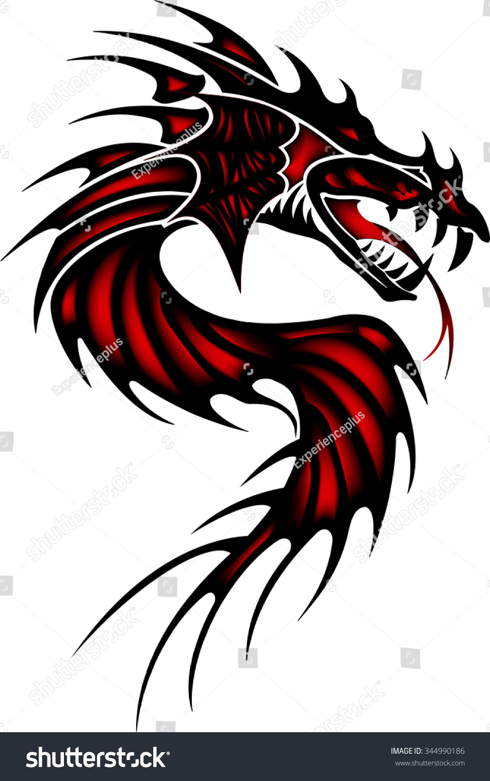 Дракон тату эскиз черно
