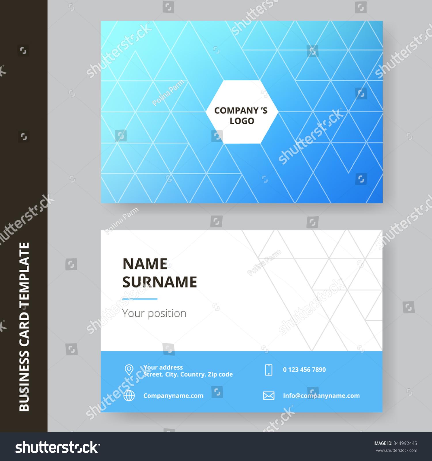 Modern Blue Flat Design Business Card Stock Vector 344992445 ...