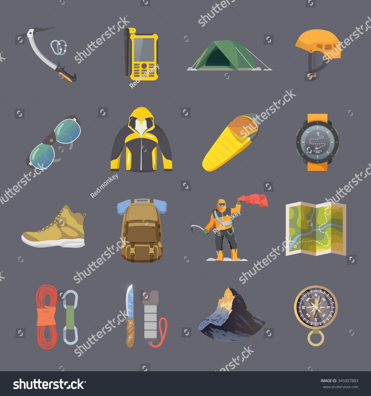 Set of flat vector icons on the theme of Climbing Trekking Hiking Mountaineering Extreme sports outdoor recreation adventure in the mountains vacation Achievement Modern flat design