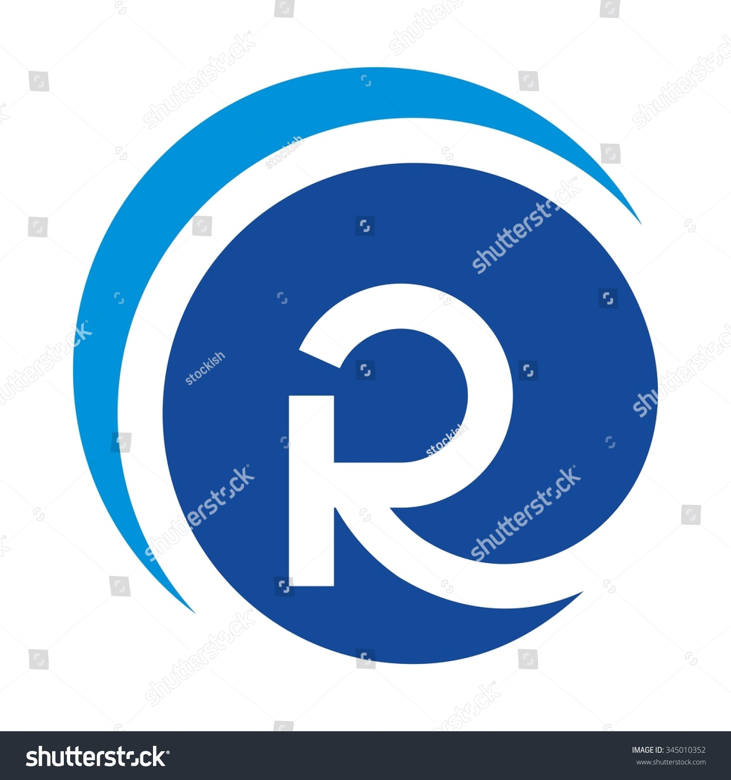 Abstract Letter Inside Circle Logo: R Logo Vector Letter R Forming Stock Vector 345010352