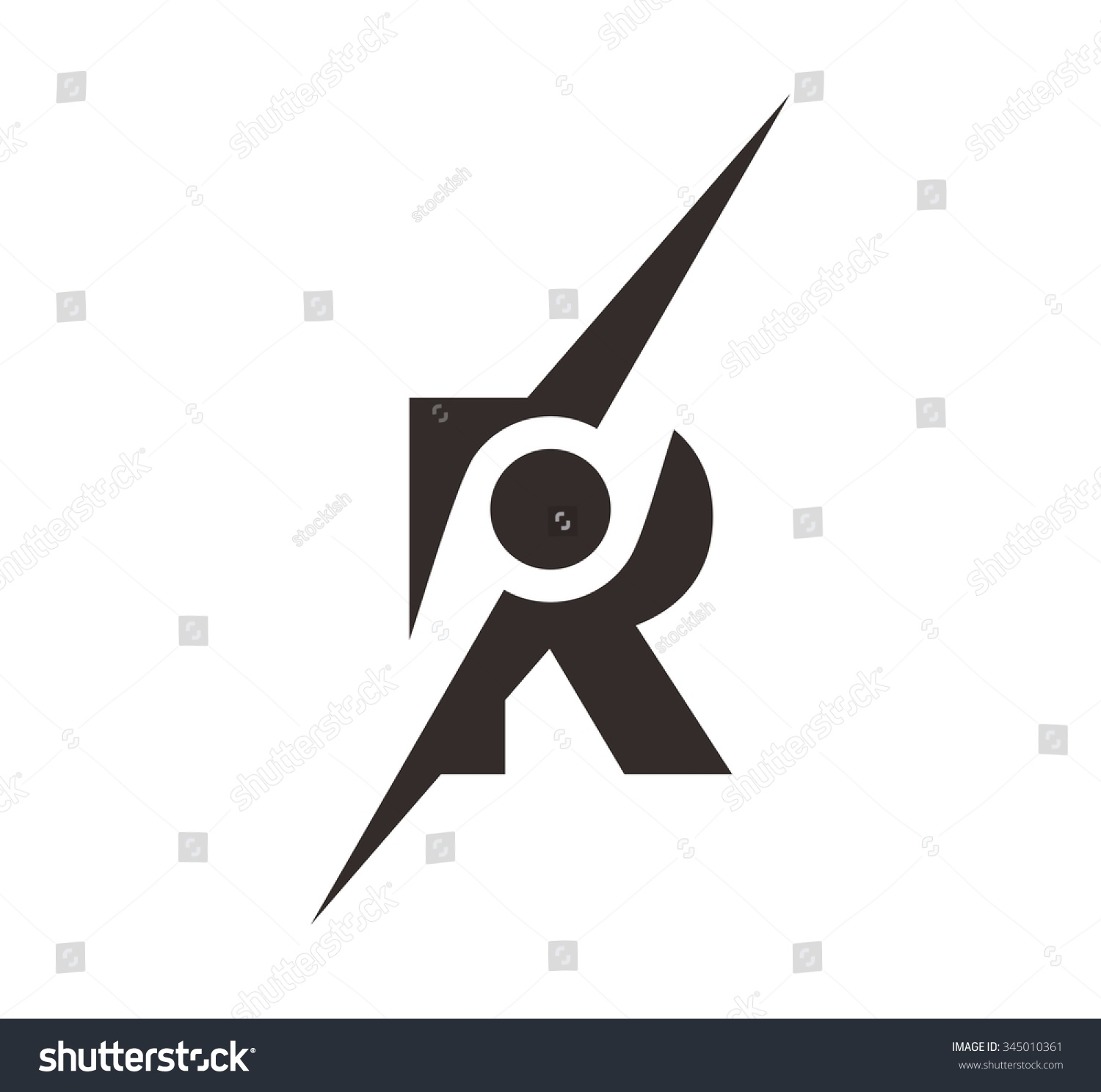 Letter R Symbol Compass Logo Vector Stock Vector Royalty Free