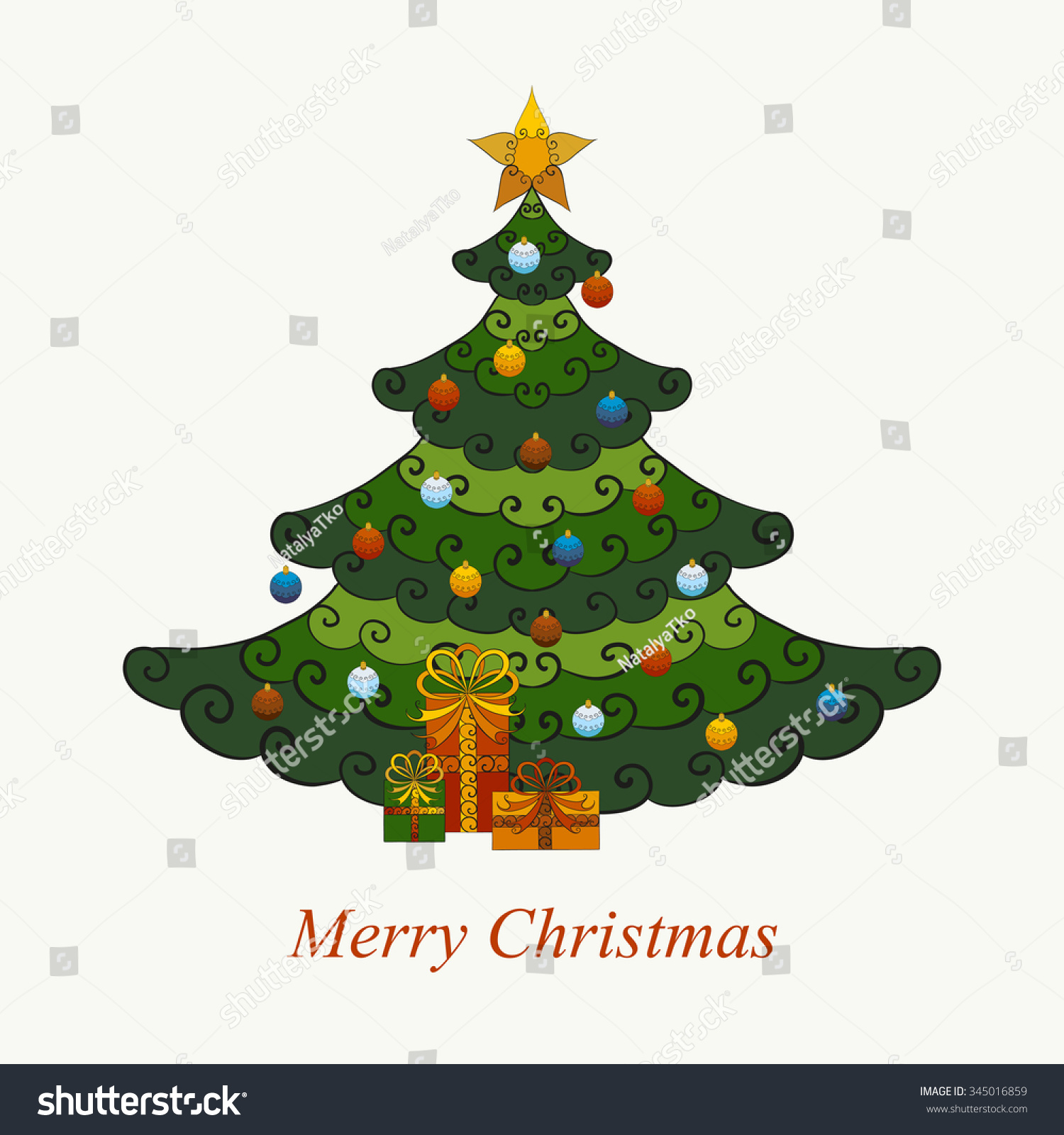 Abstract Vector Illustration Christmas Tree Decorated Stock Vector ...