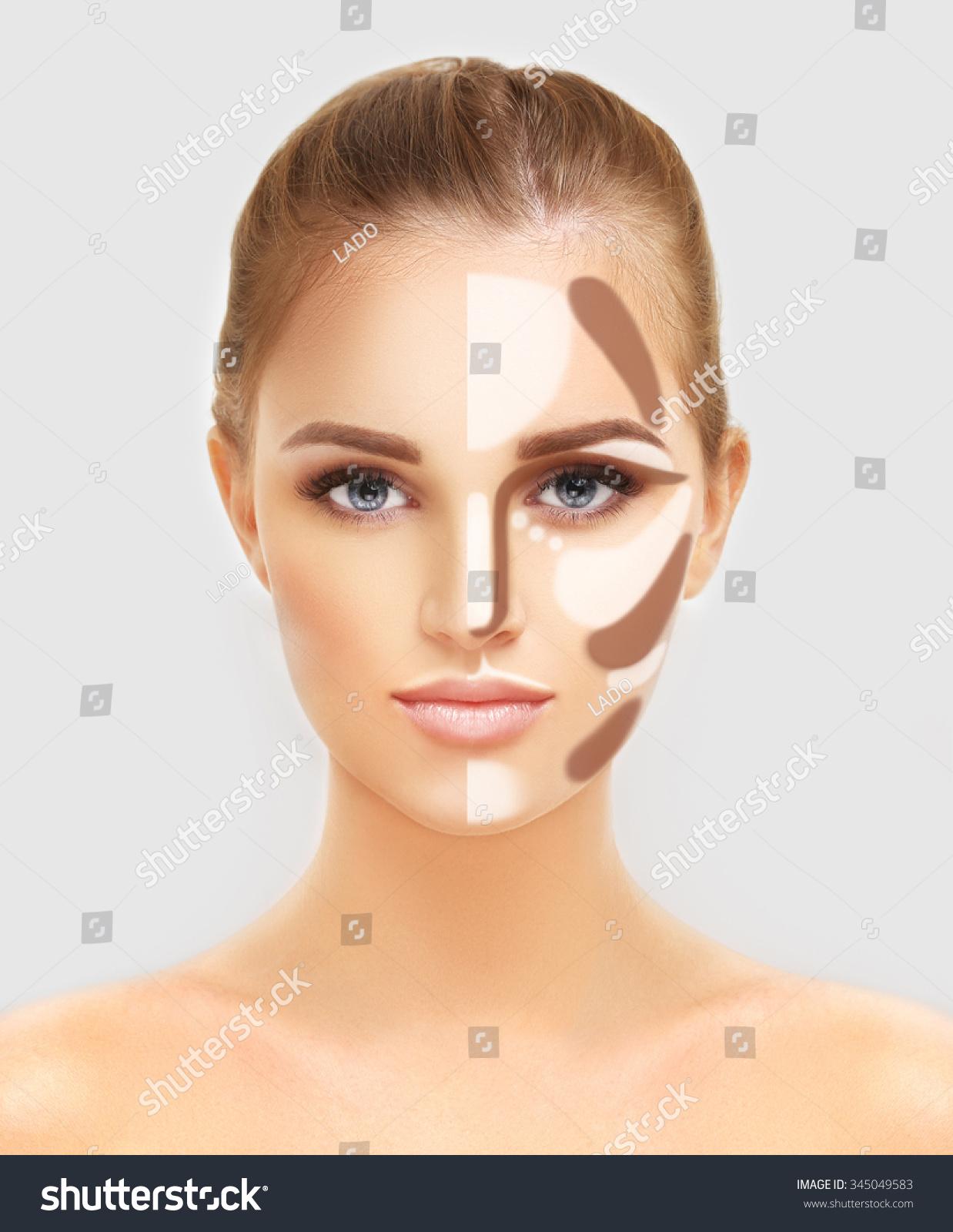 Contouringmake Woman Face Contour Highlight Makeup Stock