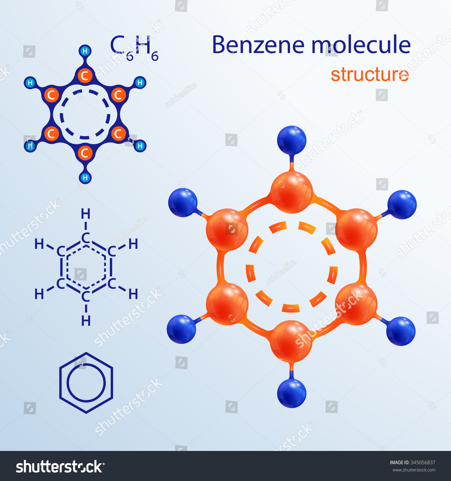 3 D Benzene Molecule. Icon And Chemical Formula, C6h6, 2d