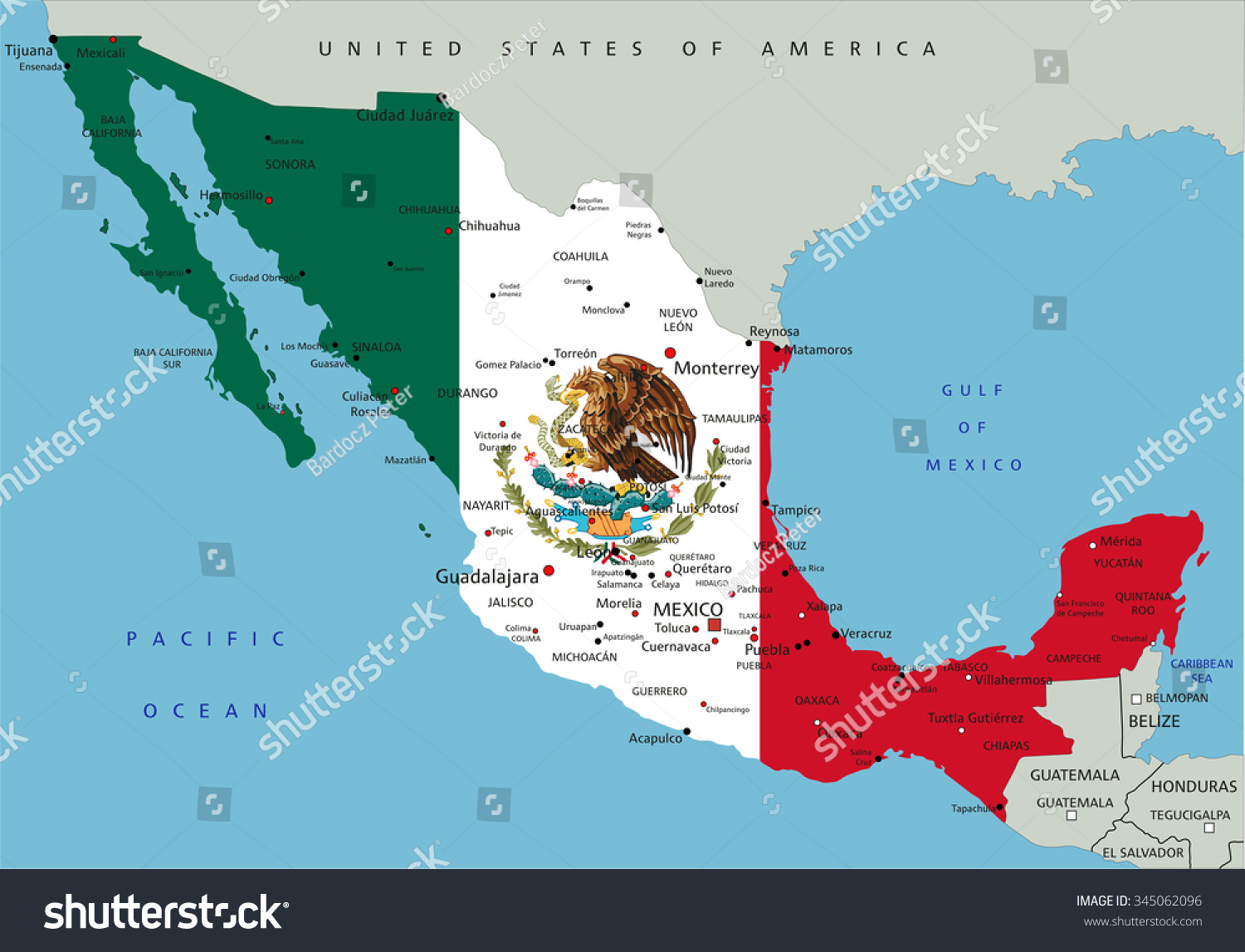 Mexico Highly Detailed Political Map National Stock Vector 2018