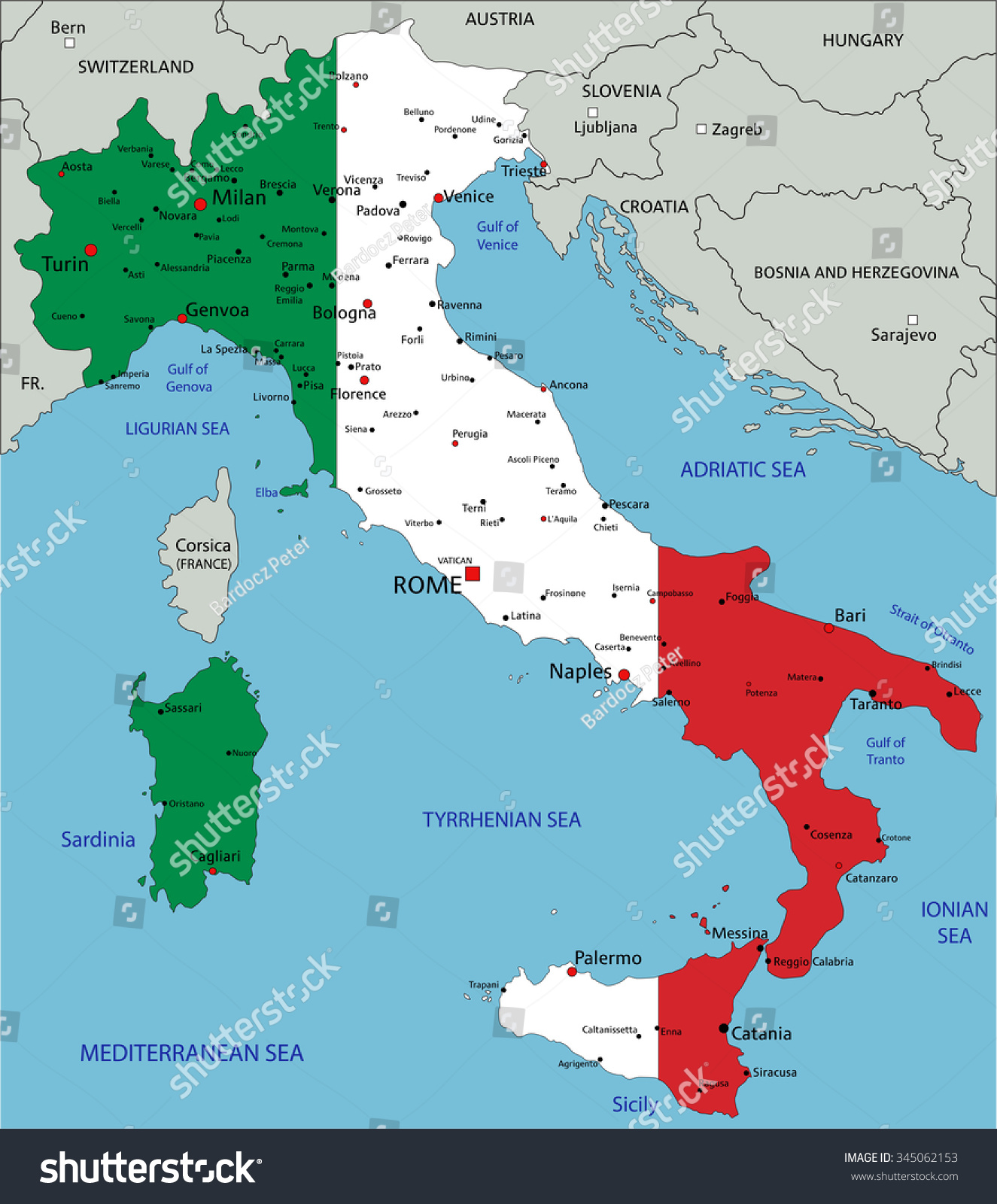 Italy Highly Detailed Political Map National Stock Photo Photo