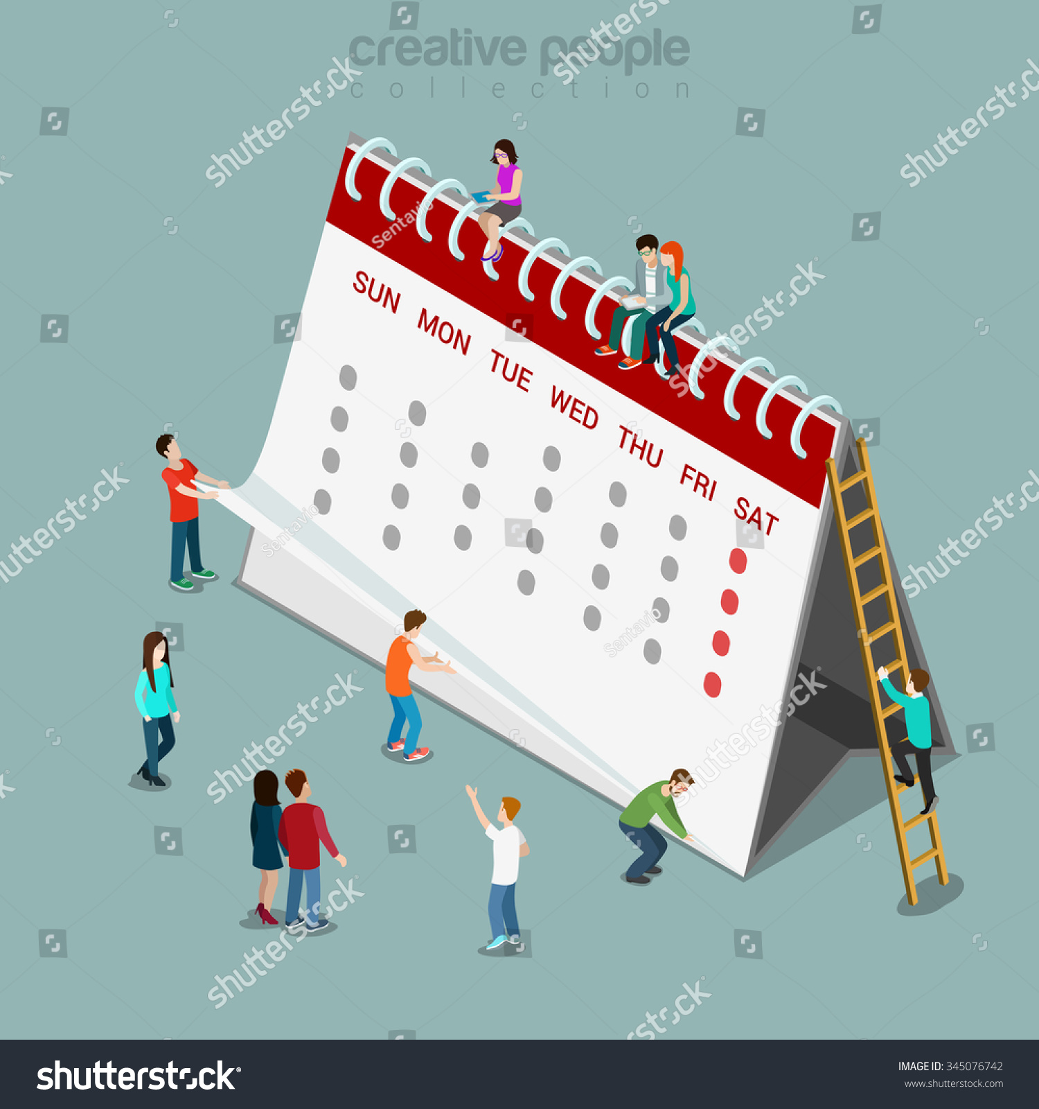 Calendar Method With Illustration : Calendar schedule flat d isometry isometric stock vector