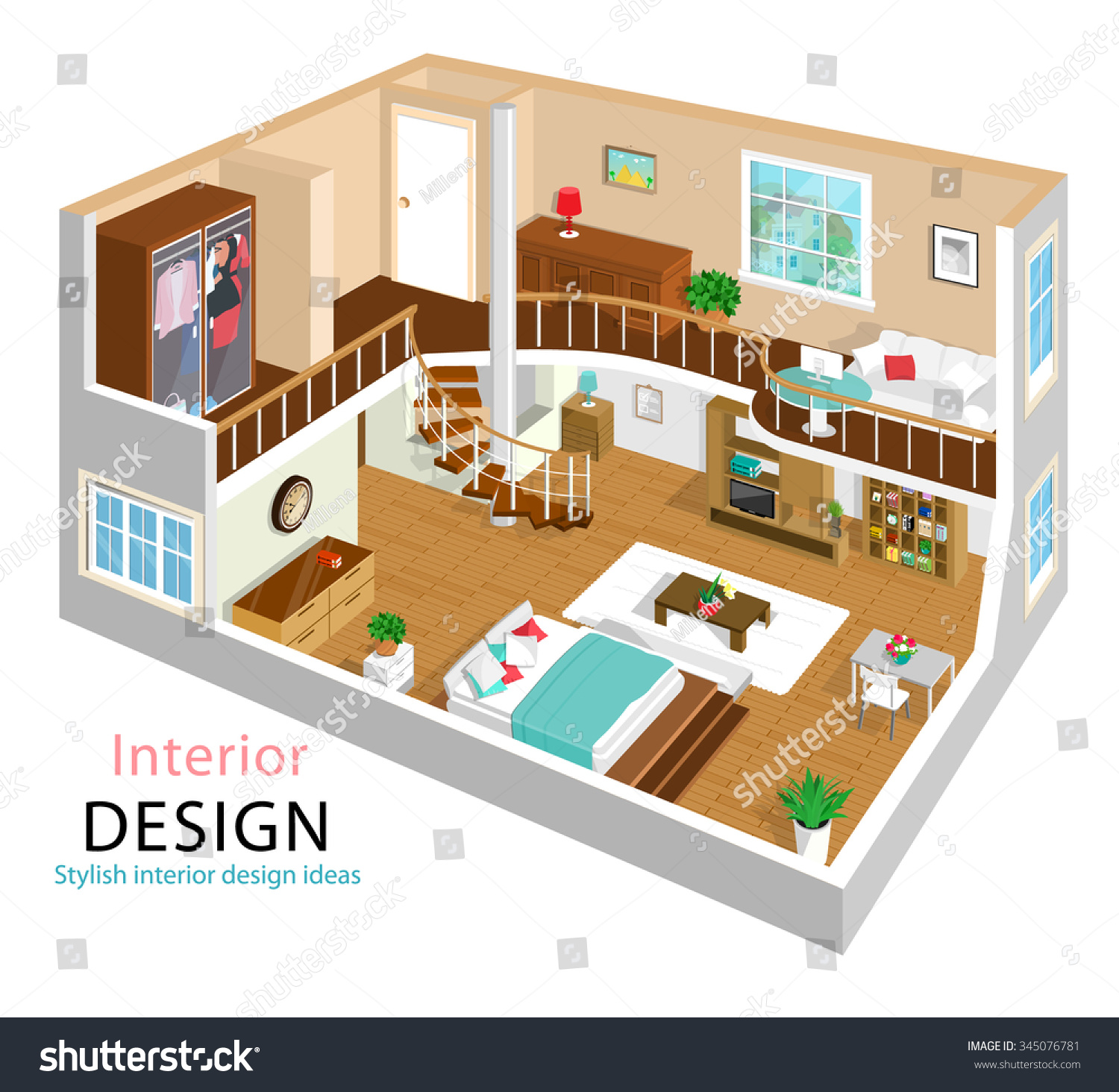 A Vector Illustration A Modern Detailed Isometric Apartment Interior Design 3d Isometric