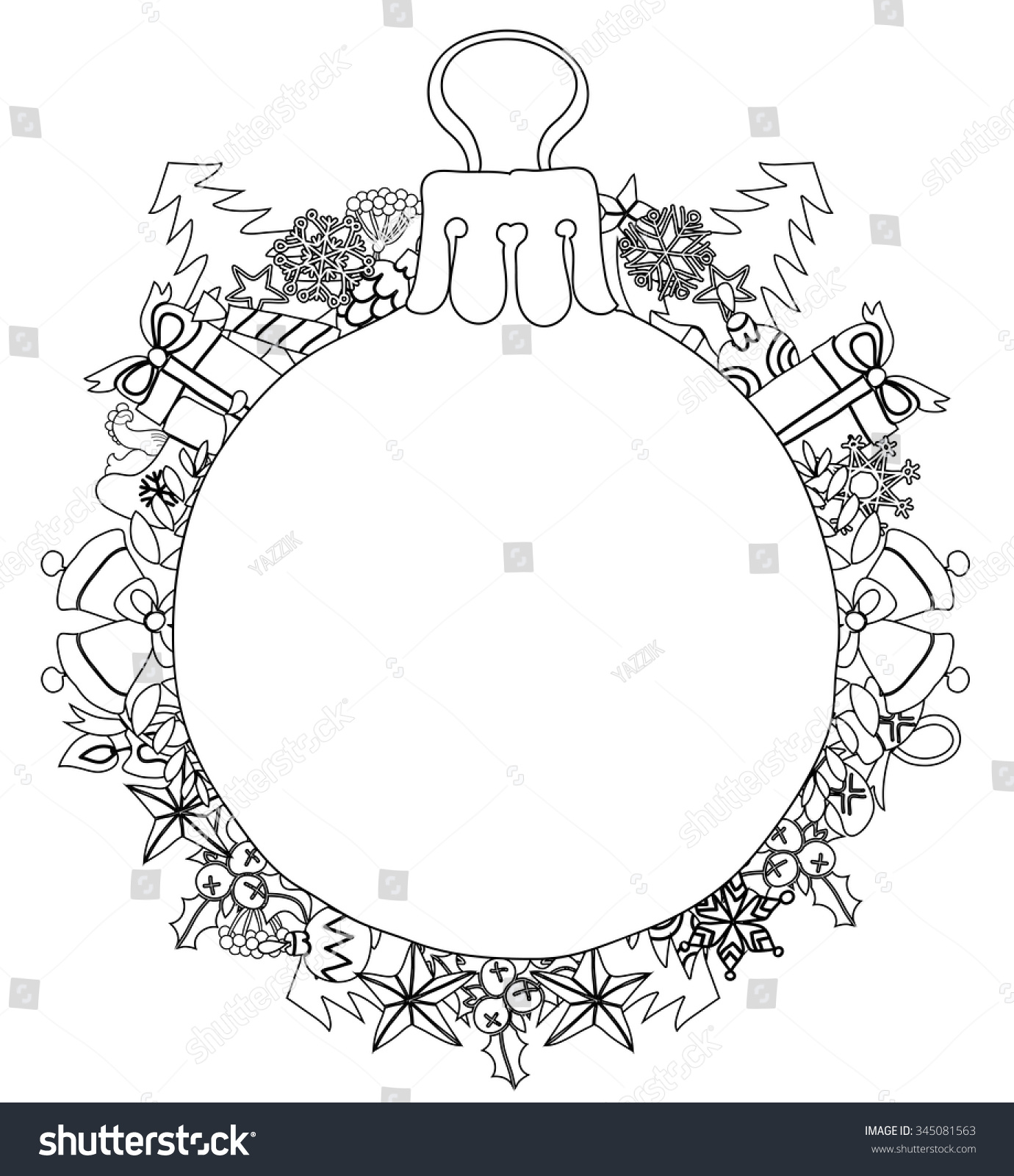 Hand drawn christmas glass ball fir tree doodle sketch