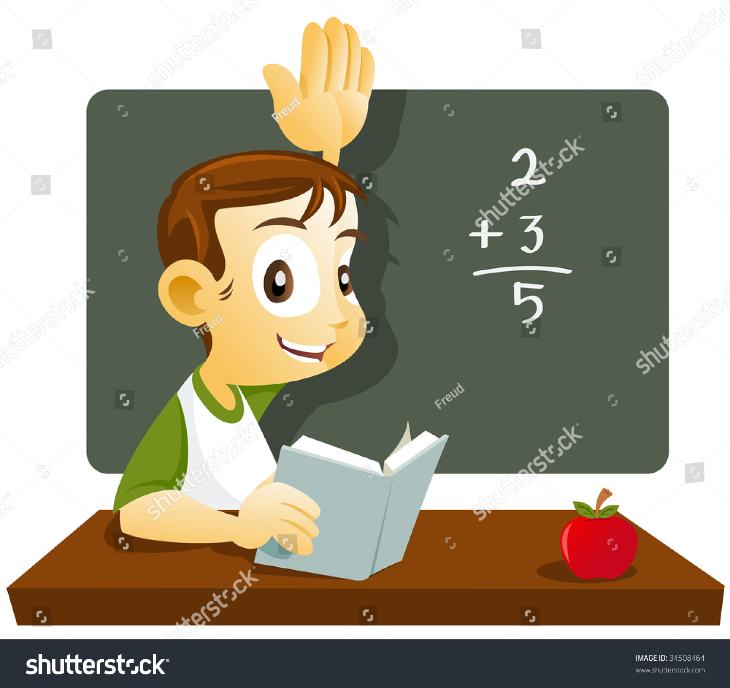 Student Raising His Hand Answering His Stock Vector 34508464 ...