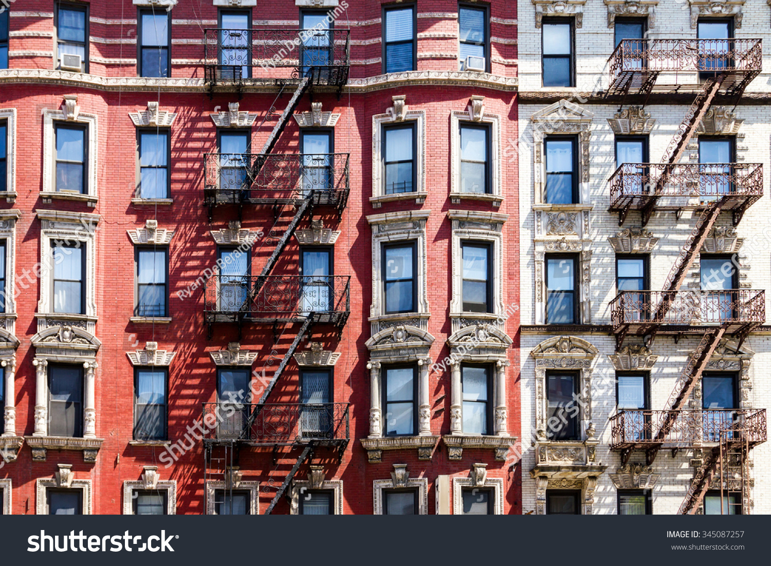 New York City Apartment Building Background Stock Photo