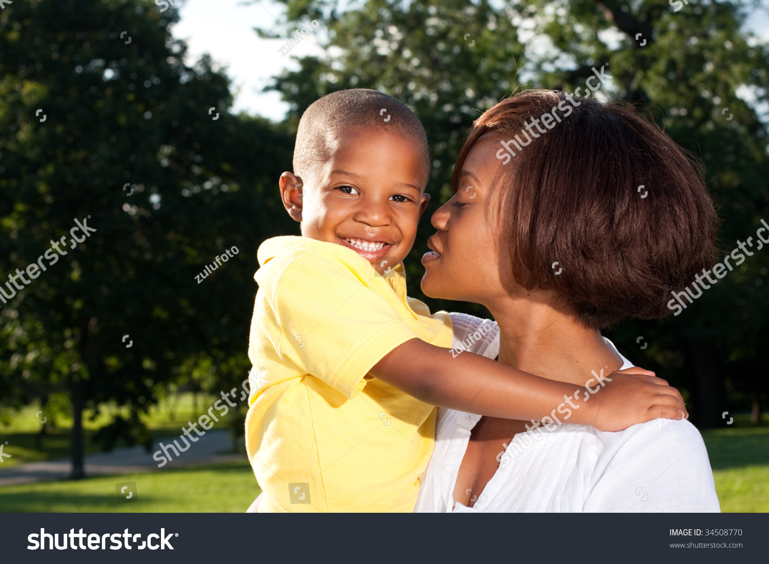 Happy African American Mom Poses Her Stock Photo Edit Now 34508770