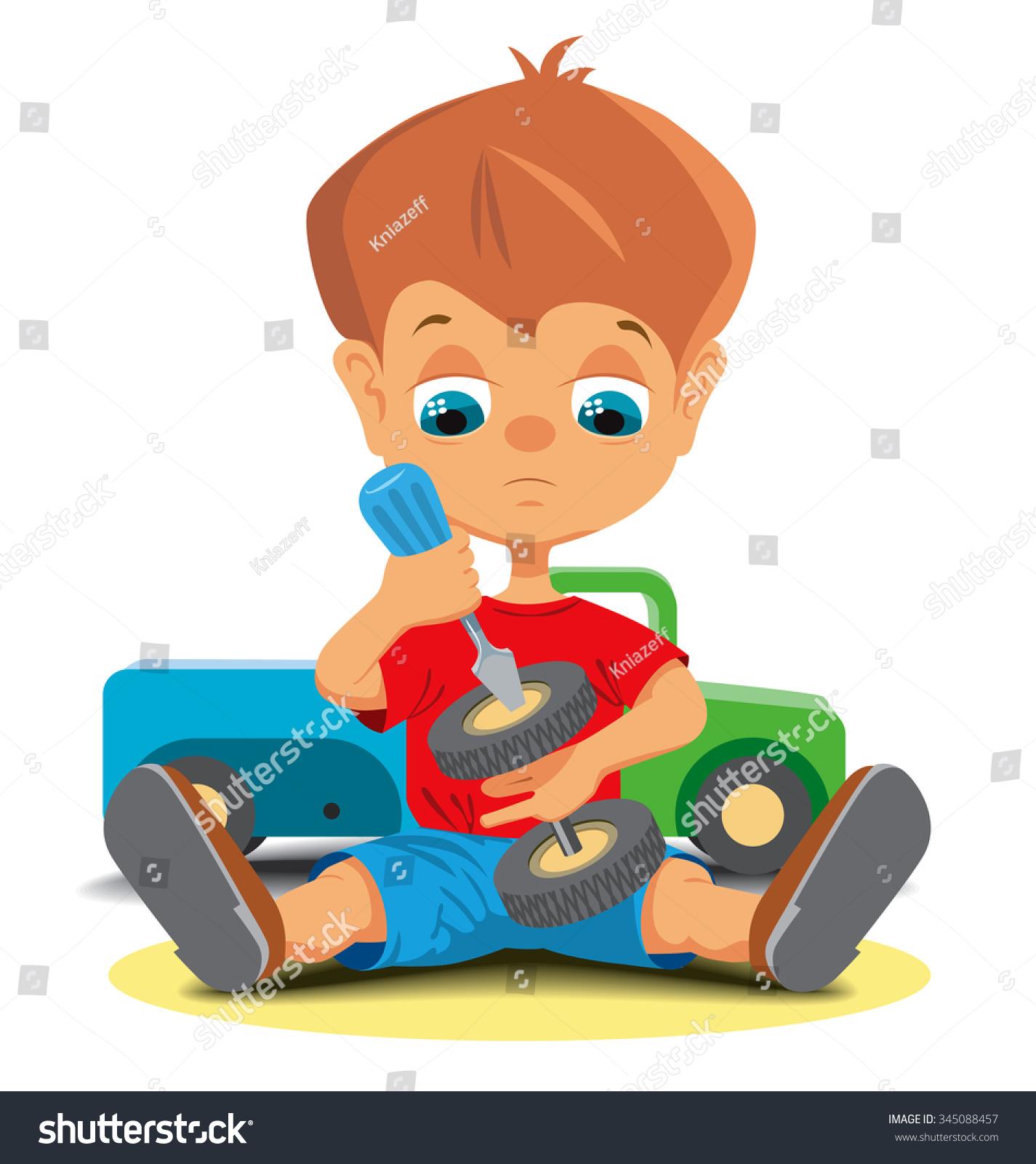 Little Boy Repairing Toy Car Vector Stock vektorgrafik