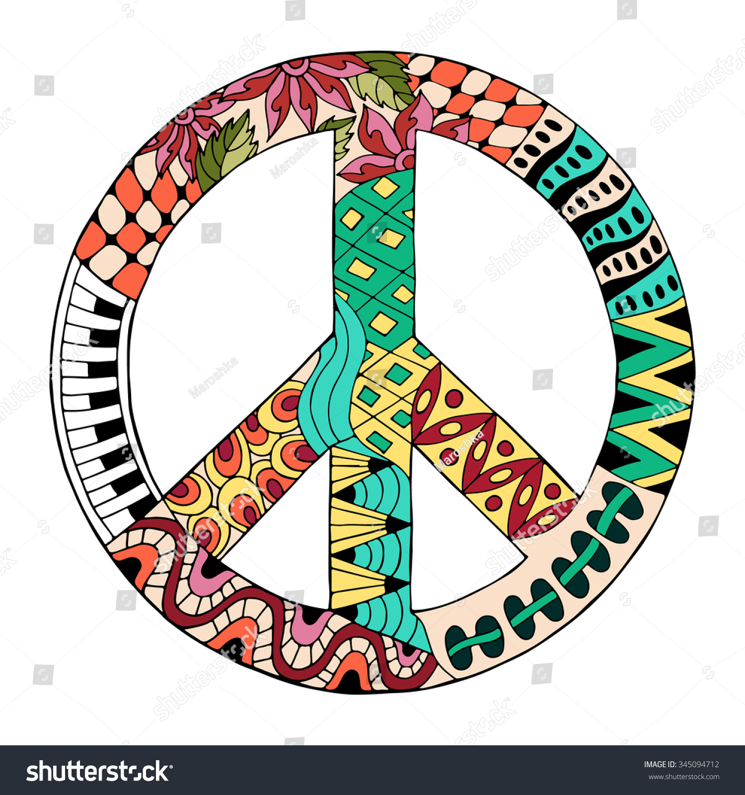hippie vintage peace symbol zentangle style stock vector 345094712