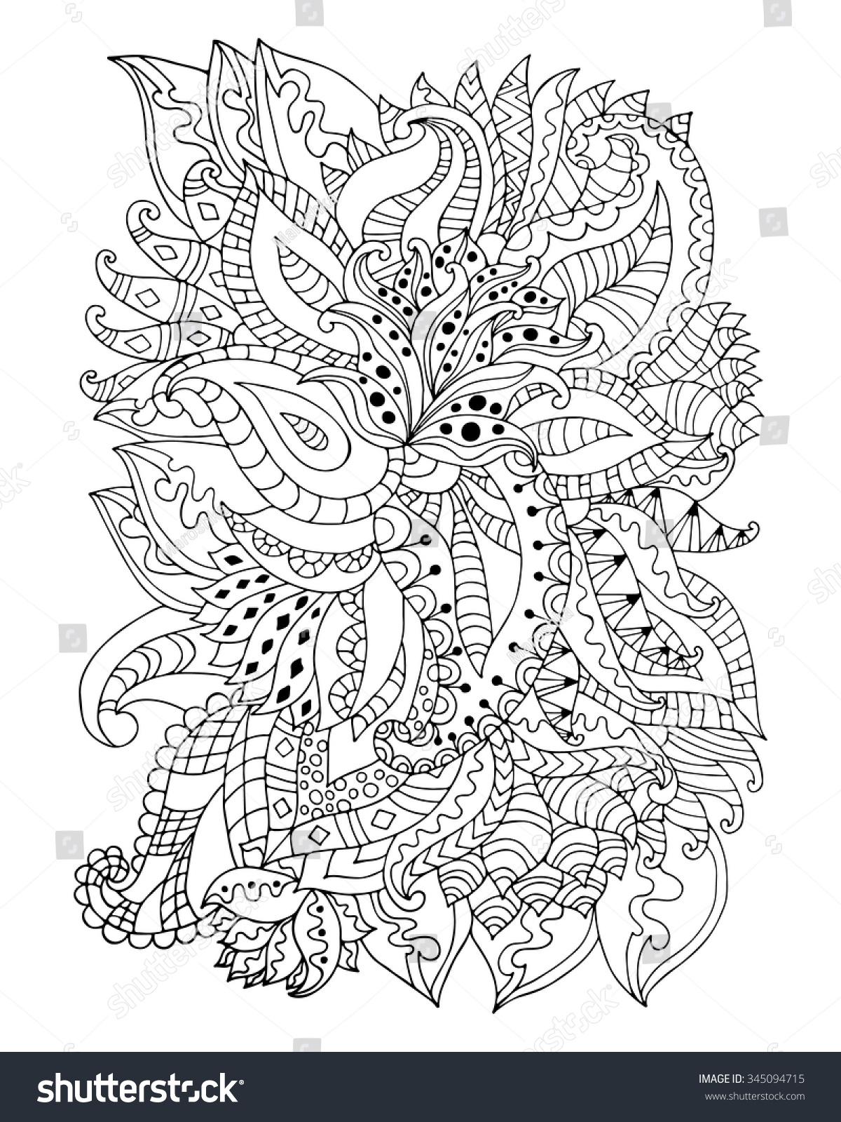hand drawn zentangle flowers leaves stock vector 345094715
