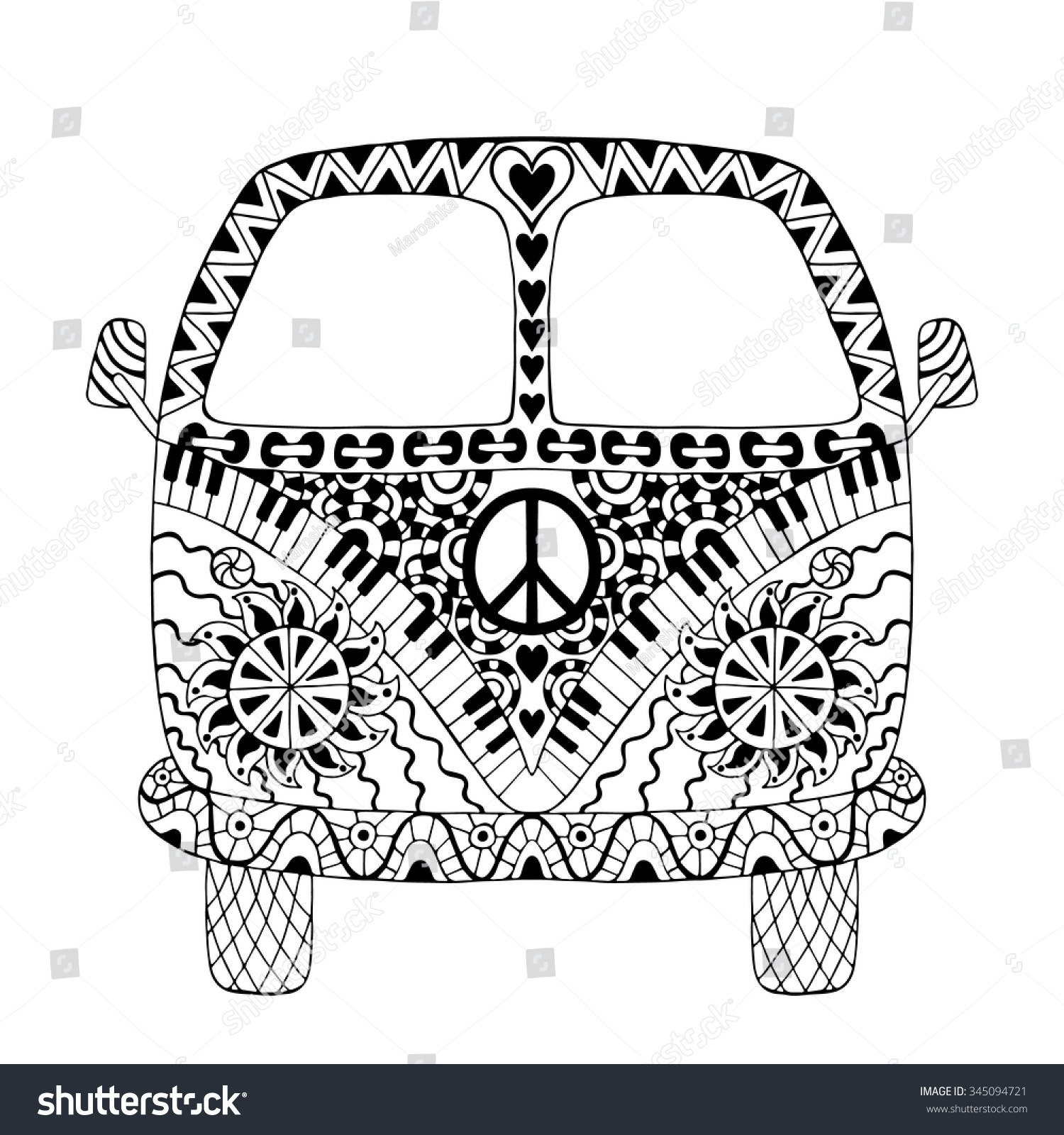 Hippie Vintage Car Mini Van Zentangle Stock Vector